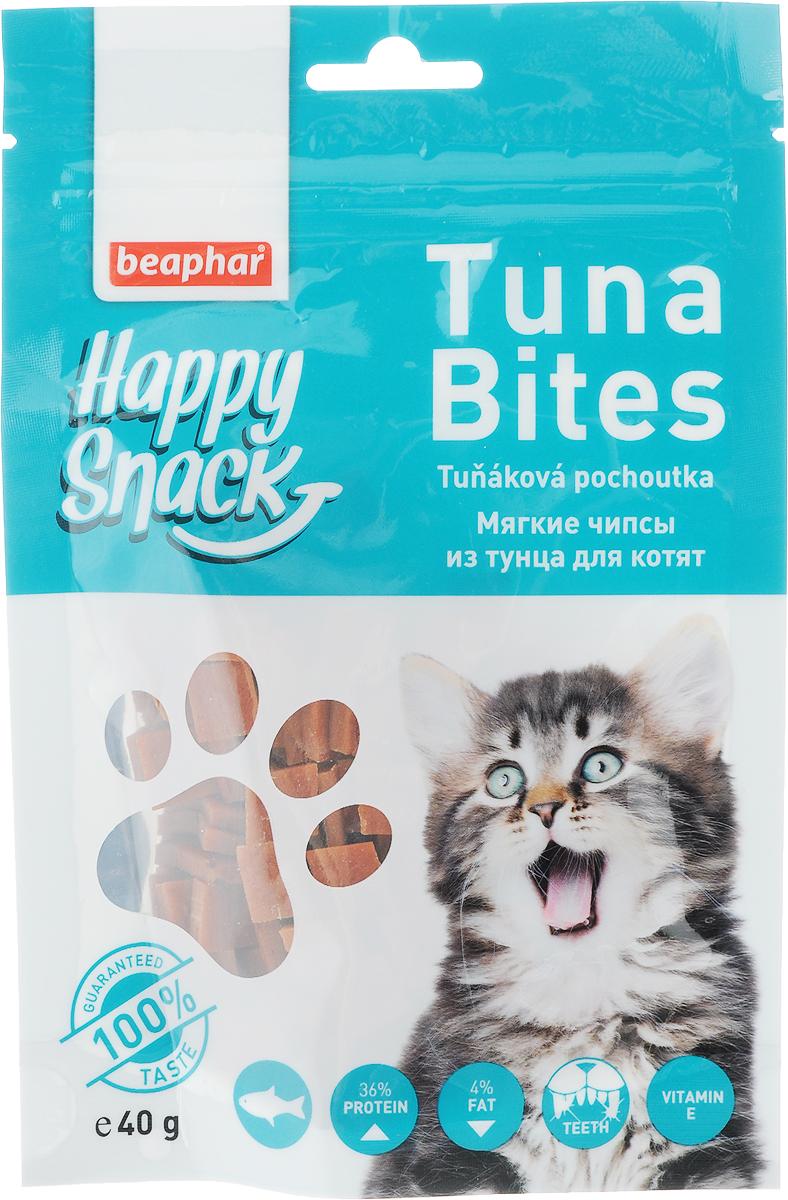 Лакомство для котят Beaphar Happy Snack, мягкие чипсы из тунца, 40 г42184Лакомство для котят Beaphar Happy Snack - дополнительный корм для кошек и котят с 3-месячного возраста в виде небольших кусочков из мяса тунца. Лакомство понравится даже самым искушенным кошачьим гурманам. Специальный замок zip-lock на упаковке позволяет дольше хранить лакомство. Товар сертифицирован.
