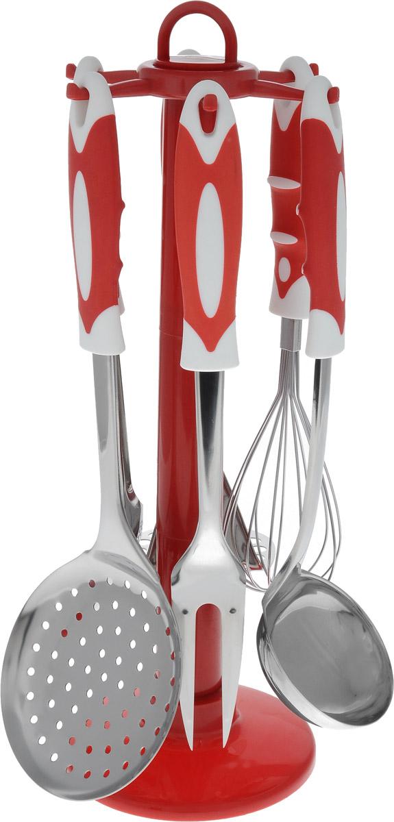Набор кухонных принадлежностей Bekker, на подставке, 7 предметов. BK-3239BK-3239Набор Bekker состоит из пресса для картофеля, кулинарной ложки, вилки, половника, шумовки и венчика. Предметы набора хранятся на пластиковой подставке. Ручки изделий, выполненные из пластика с резиновыми вставками, оснащены отверстием для подвешивания на крючок. Рабочие поверхности предметов набора изготовлены из высококачественной нержавеющей стали. Изделия из нержавеющей стали исключительно прочны, гигиеничны, не подвержены коррозии и химически устойчивы по отношению к органическим кислотам, солям и щелочам. Данный набор придаст вашей кухне элегантность, подчеркнет индивидуальный дизайн и превратит приготовление еды в настоящее удовольствие. Предметы набора можно мыть в посудомоечной машине. Размер подставки: 13 х 13 х 37,5 см. Длина половника: 30 см. Размер рабочей поверхности половника: 9 х 7,5 см. Длина шумовки: 33 см. Размер рабочей поверхности шумовки: 11,5 х 11 см. Длина кулинарной ложки: 31...