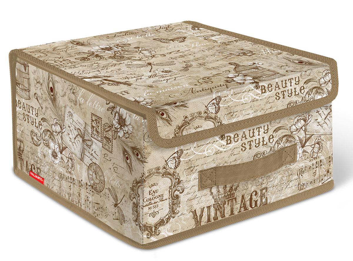 Короб стеллажный Valiant Vintage, с крышкой, 28 x 30 x 16 смVN-BOX-LSСтеллажный короб Valiant Vintage изготовлен из высококачественного нетканого материала, который обеспечивает естественную вентиляцию, позволяя воздуху проникать внутрь, но не пропускает пыль. Вставки из плотного картона хорошо держат форму. Короб снабжен специальной крышкой, которая фиксируется с помощью двух магнитов. Изделие отличается мобильностью: легко раскладывается и складывается. В таком коробе удобно хранить одежду, белье и мелкие аксессуары. Системы хранения в едином дизайне сделают вашу гардеробную изысканной и невероятно стильной.