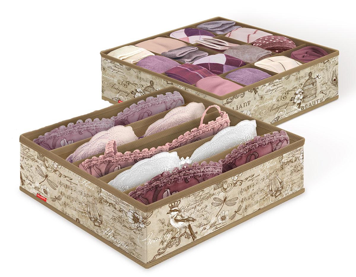 Набор органайзеров для белья Valiant Vintage, 32 x 32 x 10 см, 2 штVN-S16S5Органайзеры Valiant Vintage изготовлены из высококачественного нетканого материала, который позволяет сохранять естественную вентиляцию, а воздуху свободно проникать внутрь, не пропуская пыль. Благодаря специальным вставкам, органайзеры прекрасно держат форму, а эстетичный дизайн гармонично смотрится в любом интерьере. Один органайзер имеет 5 секций, второй - 16. Мобильность конструкции обеспечивает складывание и раскладывание одним движением. Комплектация: 2 шт. Размер органайзера: 32 х 32 х 10 см.