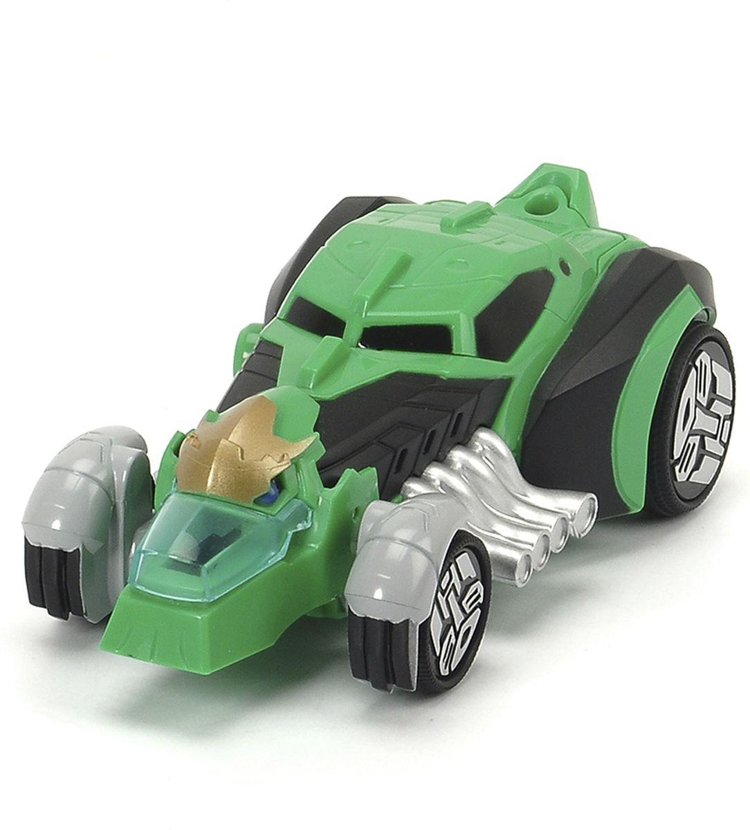 Dickie Toys Машинка-трансформер Grimlock3113002Оригинальная машинка-трансформер Dickie Toys Grimlock надолго займет внимание вашего ребенка. Grimlock - это один из главных героев мультфильма Трансформеры. Роботы под прикрытием. Игрушка выполнена из прочного пластика в виде гоночной машинки, снабжена яркой подсветкой и может воспроизводить звуки мотора. Колесные диски украшены логотипом автоботов. Для превращения в робота необходимо поставить машинку на задний бампер. После превращения машинка становится боевым трансформером. В этом режиме появляются боевые звуки. Для обратного превращения достаточно просто поставить машинку на колеса. Эта игрушка непременно понравится вашему малышу. Порадуйте его таким замечательным подарком! Рекомендуется докупить 2 батарейки типа ААА напряжением 1,5V (комплектуется демонстрационными).