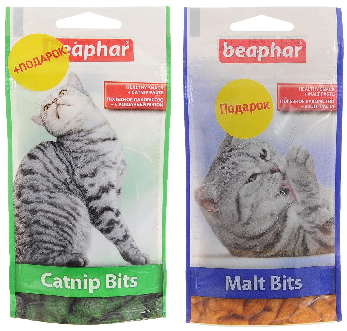 Лакомство для кошек Beaphar Catnip Bits, с кошачьей мятой, 35 г + ПОДАРОК: Лакомство для кошек Beaphar Malt Bits, 35 г13172_+подарокЛакомство с экстрактом кошачьей мяты Beaphar Catnip Bits предназначено для кошек и котят. Полезные и вкусные хрустящие подушечки, наполненные пастой из кошачьей мяты, содержат витамины и минералы, необходимые для поддержания здоровья и жизненной активности кошки. Рекомендуемая дозировка: 5-10 штук в день. В подарок входит лакомство для кошек и котят от Beaphar Malt Bits - хрустящие подушечки с наполнителем малт-пасты. Вес упаковки лакомства Beaphar Catnip Bits: 35 г. Товар сертифицирован.