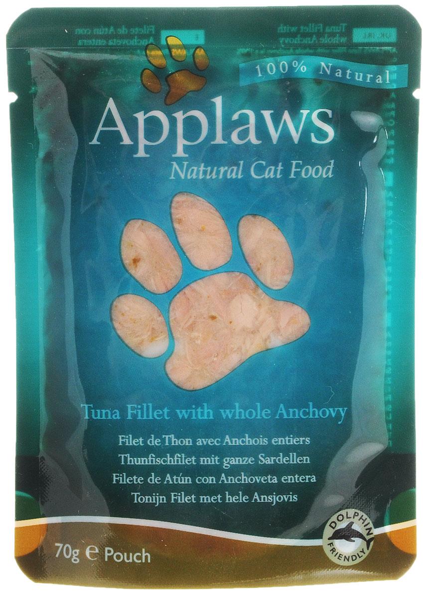 Консервы для кошек Applaws, с тунцом и анчоусами, 70 г24364Консервы Applaws изготовлены из нежнейшего филе тунца в собственном бульоне с добавлением анчоусов. В состав корма входят только натуральные продукты, питательные и минеральные вещества, белки, и ничего лишнего. Не содержит ГМО, синтетических добавок, усилителей вкуса и красителей. Консервы Applaws - это настоящее удовольствие для кошек. Состав: филе тунца 60%, рыбный бульон 24%, морская капуста 10%, анчоусы 5%, рис 1%. Гарантированный анализ: белок 18%, жиры 0,4%, зола 1%, клетчатка 0,1%, влага 77%. Товар сертифицирован.