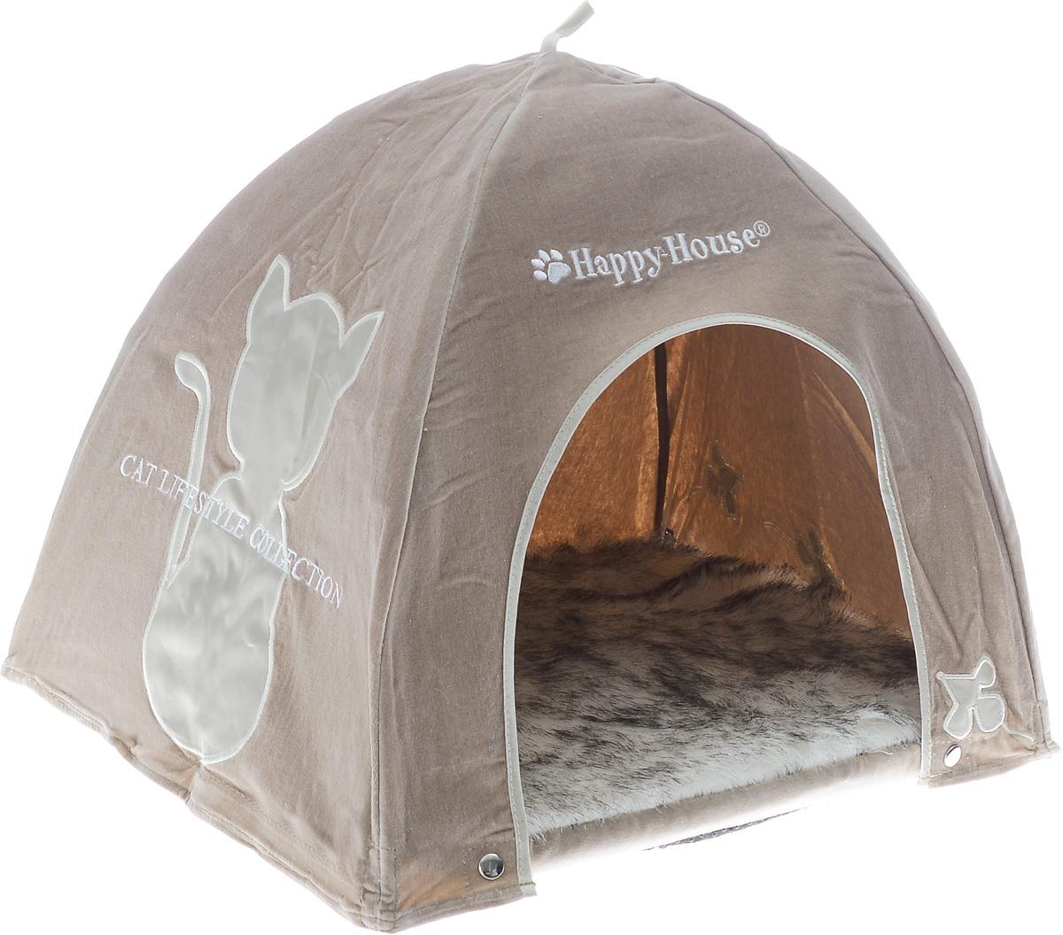 Домик для кошек Happy House Cat Lifestyle, цвет: серо-коричневый, 41 х 41 х 39 см8418-2Домик Happy House Cat Lifestyle обязательно понравится вашему питомцу. Изделие выполнено из полиэстера в виде палатки. Домик очень удобный и уютный, с маленьким проемом, куда ваш любимец обязательно захочет забраться. Верх мягкой съемной подстилки выполнен из искусственного меха. Встроенный гибкий каркас позволяет просто собирать и разбирать домик, облегчая транспортировку и хранение. Домик крепится к подстилке при помощи липучек и кнопок. Компактные размеры позволят поместить изделие, где угодно и станет оригинальным дополнением любого интерьера. Домик оснащен петлей, за которую его можно подвесить.