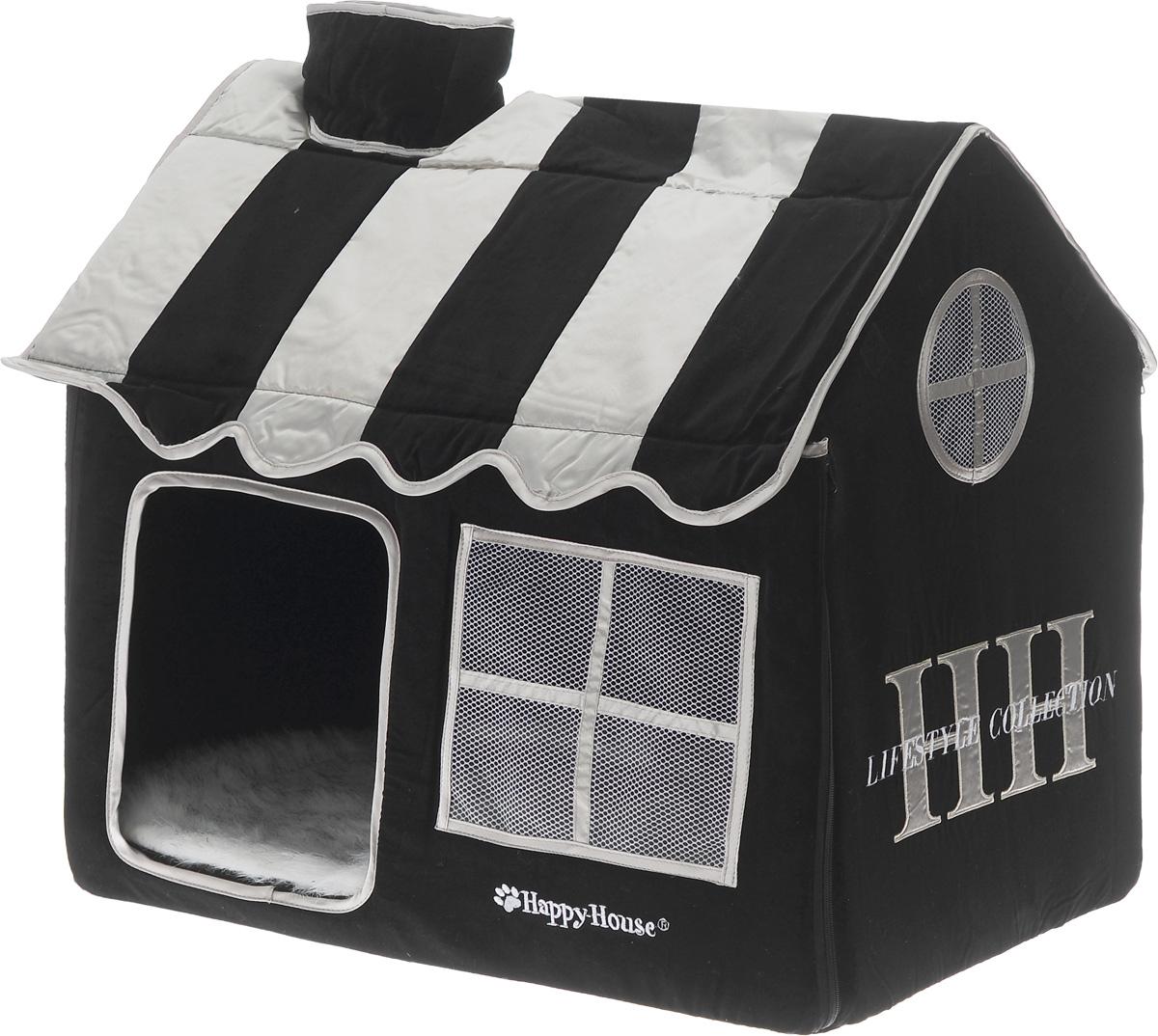 Домик для кошек Happy House Cat Lifestyle, цвет: черный, белый, 62 х 42 х 59 см8480-3Домик Happy House Cat Lifestyle непременно станет любимым местом отдыха вашего домашнего любимца. Изделие выполнено из картона и обтянуто бархатной тканью с атласными вставками. Внутри имеется мягкая съемная подстилка из искусственного меха. Крыша домика крепится при помощи липучек и полностью снимается, а каркас соединяется застежкой-молнией. В таком домике вашему питомцу будет мягко и тепло. Он подарит ему ощущение уюта и уединенности, а также возможность спрятаться. Очень удобен для транспортировки и легко складывается.