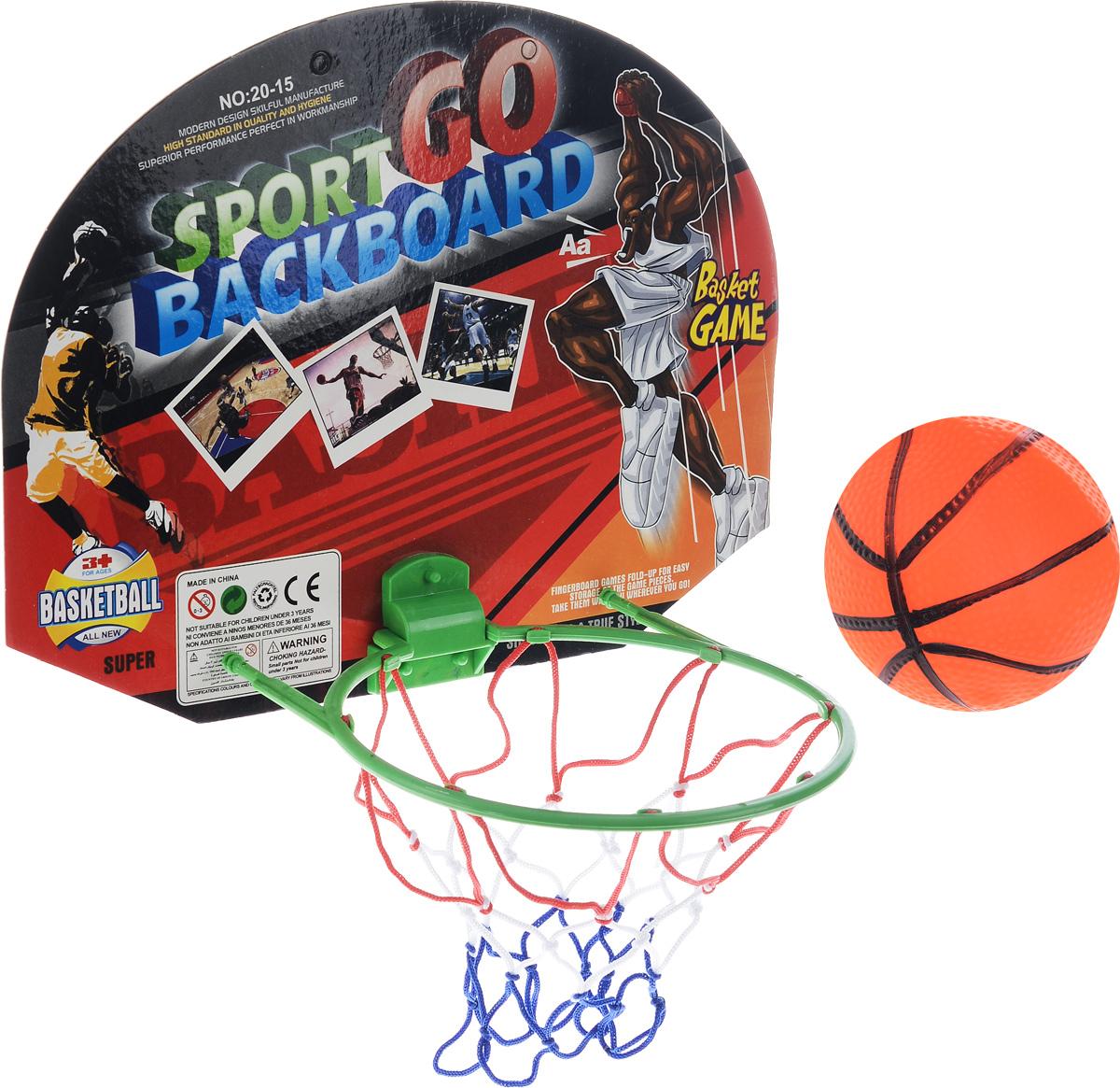 Набор для игры в баскетбол Torres TX1310328262068Набор для игры в баскетбол Torres TX13103, выполненный из ПВХ, текстиля и картона, состоит из корзины с сеткой и щитом, маленького резинового мячика, выполненного в виде баскетбольного и двух двусторонних клейких лент. Такой набор привлечет внимание каждого ребенка и станет отличным подарком юному любителю игр. Набор Torres TX13103 способствует развитию внимательности, ловкости и усидчивости, а также развивает любовь к спортивным играм. Размер щита: 38 х 27 см. Диаметр мяча: 10 см .