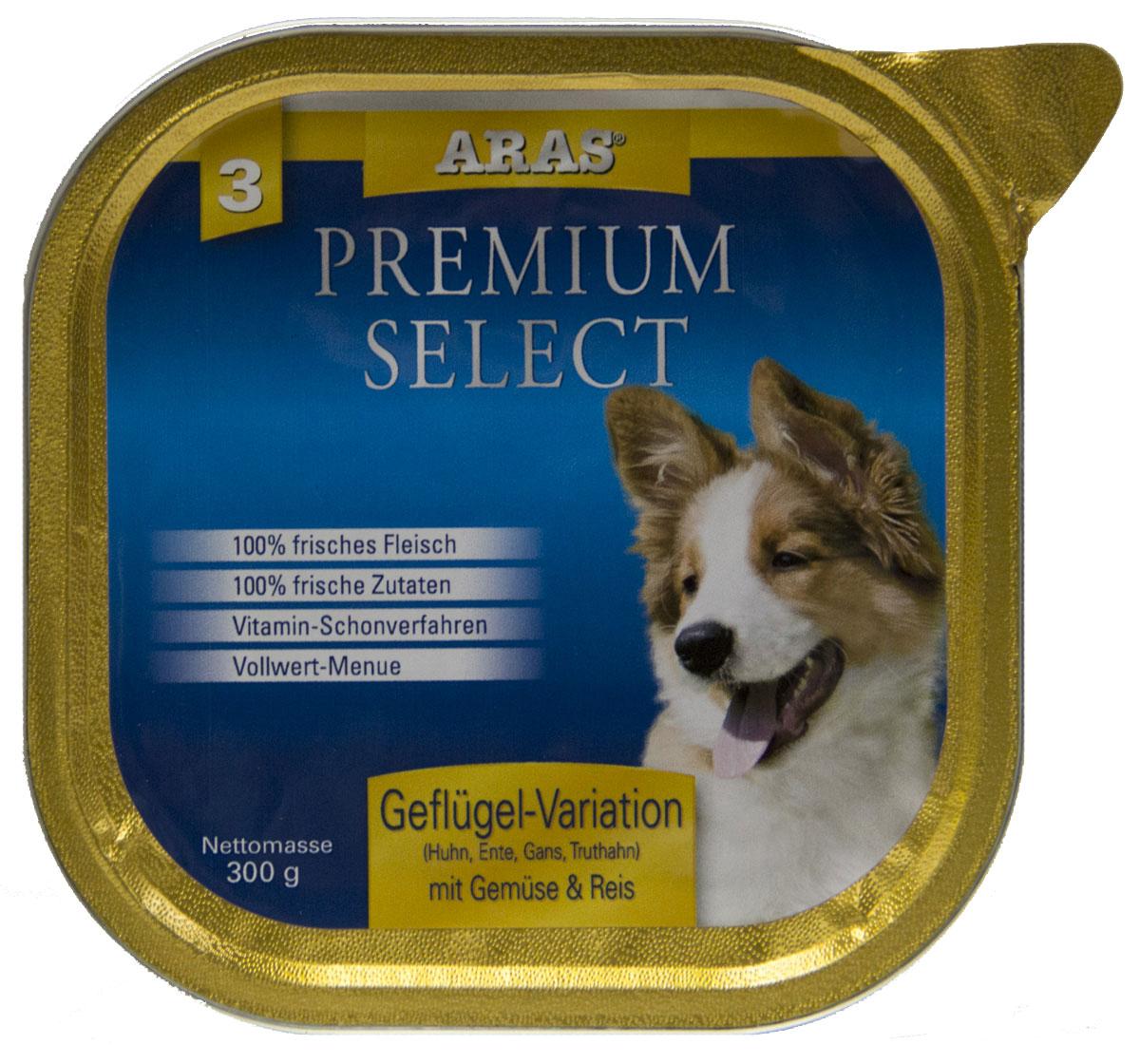 Консервы Aras Premium Select, для собак, с домашней птицей, овощами и рисом, 195 г101203Повседневный консервированный корм для собак всех пород и всех возрастов. Корм произведен в Германии из продуктов, пригодных в пищу человека по специальной технологии схожей с технологией Sous Vide. Благодаря уникальной технологии, схожей с технологий Souse Vide, при изготовлении сохраняются все натуральные витамины и минералы. Это достигается благодаря бережной обработке всех ингредиентов при температуре менее 80 градусов. Такая бережная обработка продуктов не стерилизует продуктовые компоненты. Благодаря этому корма не нуждаются ни в каких дополнительных вкусовых добавках и сохраняют все необходимые полезные вещества. При производстве кормов используются исключительно свежие натуральные продукты: мясо, овощи и зерновые; Приготовлено из 100% свежего мяса, пригодного в пищу человеку; Содержит натуральные витамины, аминокислоты, минеральные вещества и микроэлементы; С экстрактом масла зародышей зерна пшеницы холодного отжима (Bio-Dura); Без химических...