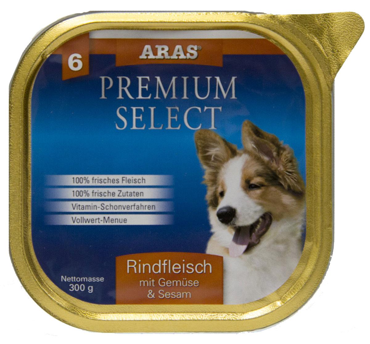 Консервы Aras Premium Select, для собак, с говядиной, овощами и кунжутом, 195 г101206Повседневный консервированный корм для собак всех пород и всех возрастов. Корм произведен в Германии из продуктов, пригодных в пищу человека по специальной технологии схожей с технологией Sous Vide. Благодаря уникальной технологии, схожей с технологий Souse Vide, при изготовлении сохраняются все натуральные витамины и минералы. Это достигается благодаря бережной обработке всех ингредиентов при температуре менее 80 градусов. Такая бережная обработка продуктов не стерилизует продуктовые компоненты. Благодаря этому корма не нуждаются ни в каких дополнительных вкусовых добавках и сохраняют все необходимые полезные вещества. При производстве кормов используются исключительно свежие натуральные продукты: мясо, овощи и зерновые; Приготовлено из 100% свежего мяса, пригодного в пищу человеку; Содержит натуральные витамины, аминокислоты, минеральные вещества и микроэлементы; С экстрактом масла зародышей зерна пшеницы холодного отжима (Bio-Dura); Без химических...