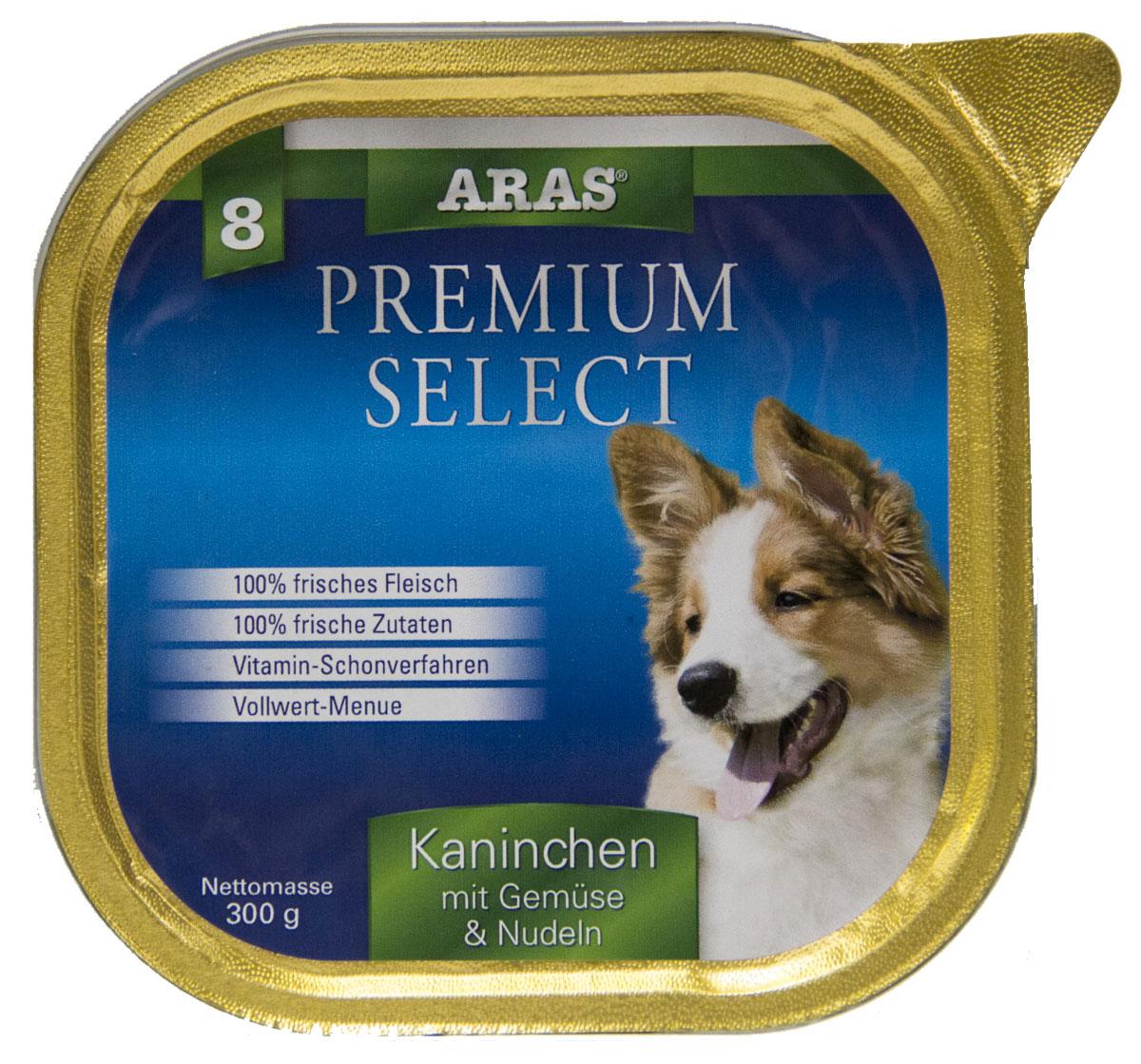 Консервы Aras Premium Select, для собак, с кроликом, овощами и лапшой, 195 г101208Повседневный консервированный корм для собак всех пород и всех возрастов. Корм произведен в Германии из продуктов, пригодных в пищу человека по специальной технологии схожей с технологией Sous Vide. Благодаря уникальной технологии, схожей с технологий Souse Vide, при изготовлении сохраняются все натуральные витамины и минералы. Это достигается благодаря бережной обработке всех ингредиентов при температуре менее 80 градусов. Такая бережная обработка продуктов не стерилизует продуктовые компоненты. Благодаря этому корма не нуждаются ни в каких дополнительных вкусовых добавках и сохраняют все необходимые полезные вещества. При производстве кормов используются исключительно свежие натуральные продукты: мясо, овощи и зерновые; Приготовлено из 100% свежего мяса, пригодного в пищу человеку; Содержит натуральные витамины, аминокислоты, минеральные вещества и микроэлементы; С экстрактом масла зародышей зерна пшеницы холодного отжима (Bio-Dura); Без химических...