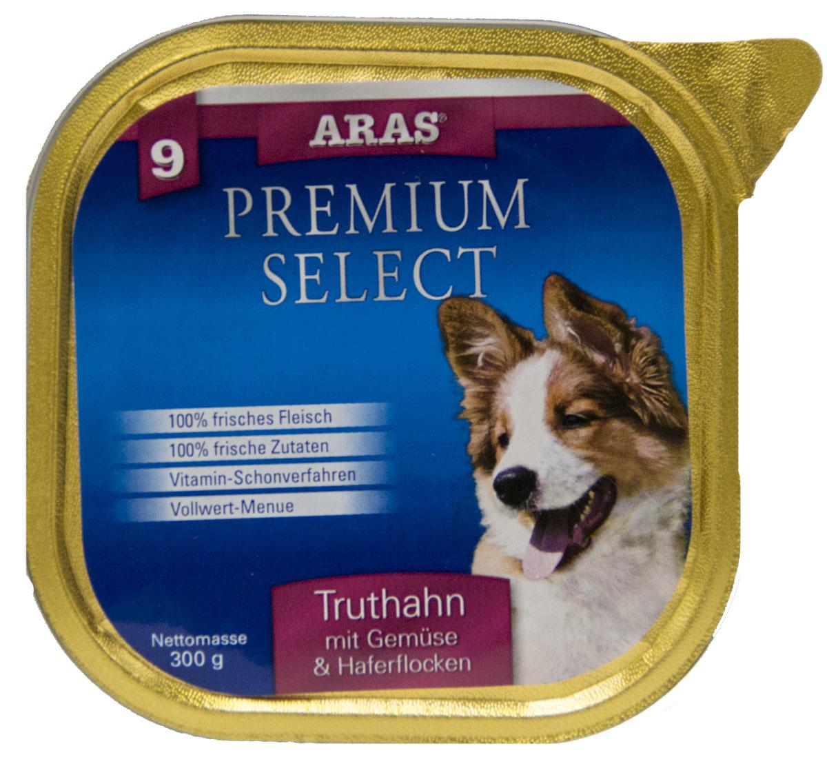 Консервы Aras Premium Select, для собак, с индейкой, овощами и овсяными хлопьями, 195 г101209Повседневный консервированный корм для собак всех пород и всех возрастов. Корм произведен в Германии из продуктов, пригодных в пищу человека по специальной технологии схожей с технологией Sous Vide. Благодаря уникальной технологии, схожей с технологий Souse Vide, при изготовлении сохраняются все натуральные витамины и минералы. Это достигается благодаря бережной обработке всех ингредиентов при температуре менее 80 градусов. Такая бережная обработка продуктов не стерилизует продуктовые компоненты. Благодаря этому корма не нуждаются ни в каких дополнительных вкусовых добавках и сохраняют все необходимые полезные вещества. При производстве кормов используются исключительно свежие натуральные продукты: мясо, овощи и зерновые; Приготовлено из 100% свежего мяса, пригодного в пищу человеку; Содержит натуральные витамины, аминокислоты, минеральные вещества и микроэлементы; С экстрактом масла зародышей зерна пшеницы холодного отжима (Bio-Dura); Без химических...