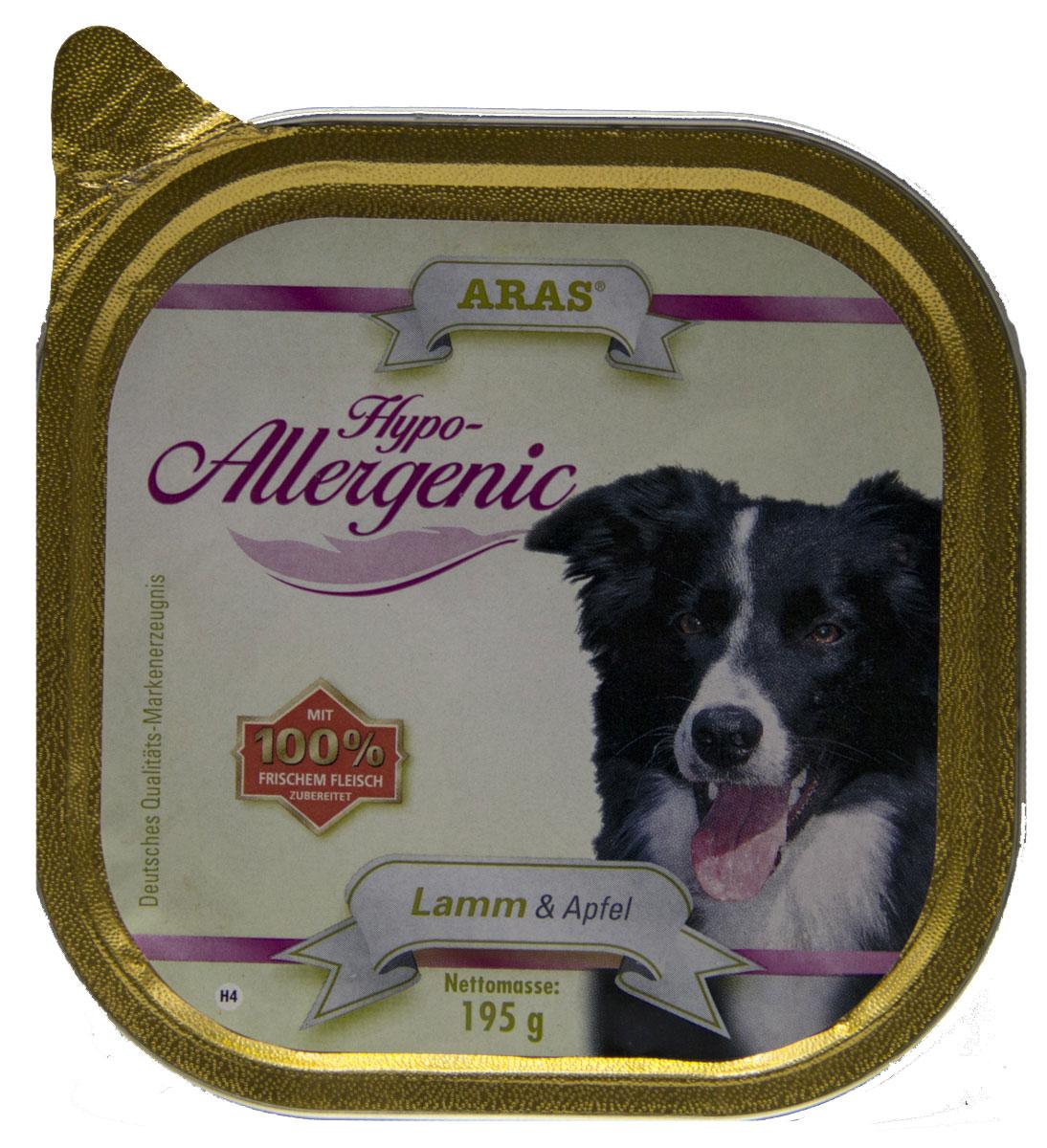 Консервы для собак Aras Hypo-Allergenic, гипоаллергенные, с бараниной и яблоком, 195 г103204Консервы Aras Hypo-Allergenic для собак всех пород и возрастов с признаками пищевой непереносимости. Предназначены для профилактики и лечения аллергических проявлений: расстройство пищеварения, ухудшение состояния шерсти и кожи, перхоть и зуд, хроническая диарея и рвота, аллергические реакции. Подходят для кормления пожилых собак. Корм не содержит пшеницу, ячмень, рожь, кукурузу и овес, способные вызывать аллергию у собак из-за наличия в них глютена. Изготовлен без сои и кукурузы, не содержит никаких синтетических добавок, благодаря этому корм очень хорошо усваивается организмом. Состав: свежая баранина и субпродукты (печень, сердце, легкое) 85,5%, свежее яблоко 14,5%. Пищевая ценность: белки 8,9%, жиры 6,4%, зола 1,6%, клетчатка 0,7%, влажность 79,6%. Товар сертифицирован.