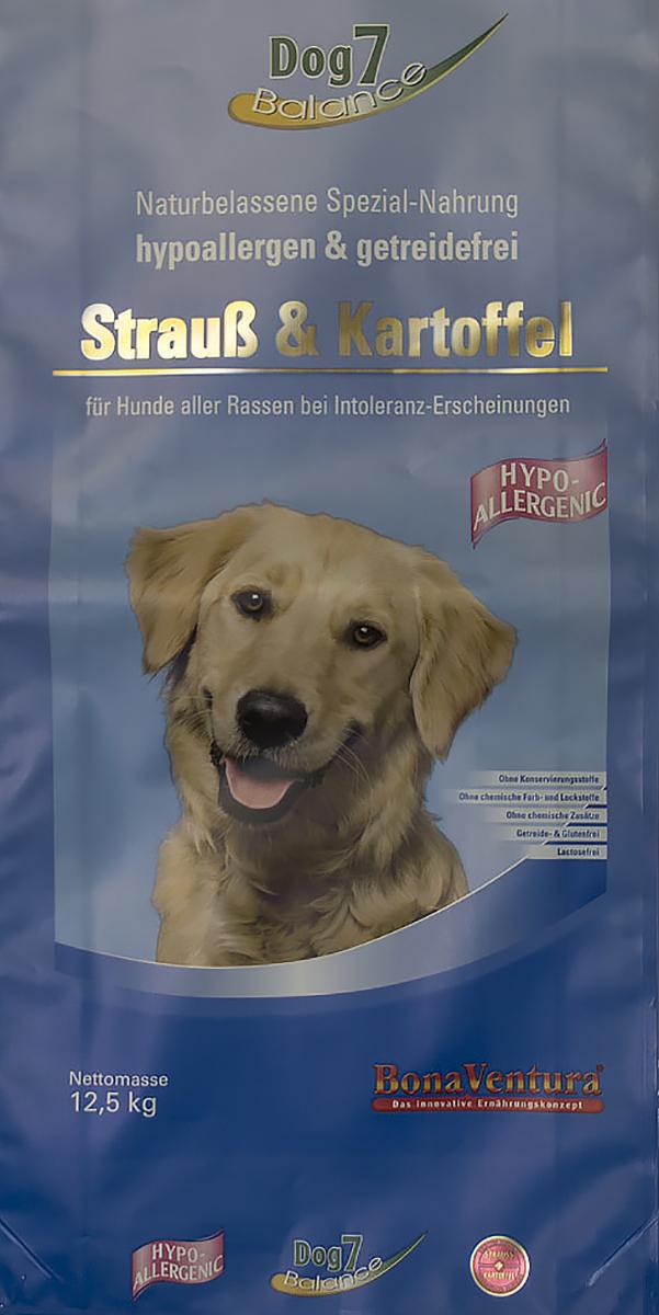 Корм сухой BonaVentura Dog 7 Hipo Allergenic, для собак, гипоаллергенный, со страусом и картофелем, 12,5 кг205712Натуральный гиппоалергенный корм для собак. Корм произведен в Германии из продуктов, пригодных в пищу человека по специальной технологии схожей с технологией Sous Vide. Благодаря уникальной технологии, схожей с технологий Souse Vide, при изготовлении сохраняются все натуральные витамины и минералы. Это достигается благодаря бережной обработке всех ингредиентов при температуре менее 80 градусов. Такая бережная обработка продуктов не стерилизует продуктовые компоненты. Благодаря этому корма не нуждаются ни в каких дополнительных вкусовых добавках и сохраняют все необходимые полезные вещества. При производстве кормов используются исключительно свежие натуральные продукты: мясо, овощи и зерновые; Приготовлено из 100% свежего мяса, пригодного в пищу человеку; Содержит натуральные витамины, аминокислоты, минеральные вещества и микроэлементы; С экстрактом масла зародышей зерна пшеницы холодного отжима (Bio-Dura); Без химических красителей, усилителей вкуса,...