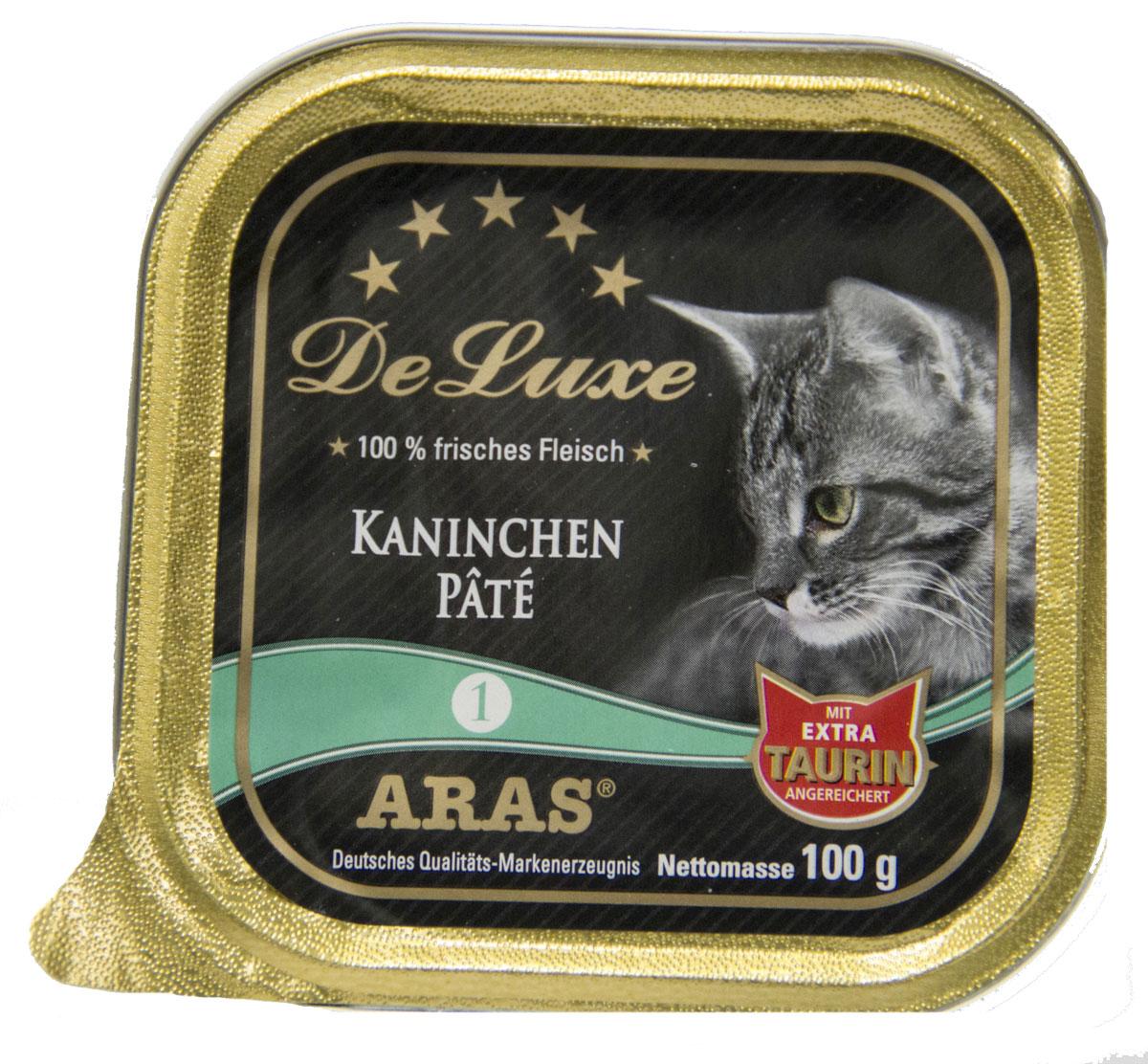Консервы Aras Premium Delux, для кошек, паштет с кроликом, 100 г503101Изысканные, натуральные, беззерновые, мясные паштеты для кошек. Корм произведен в Германии из продуктов, пригодных в пищу человека по специальной технологии схожей с технологией Sous Vide. Благодаря уникальной технологии, схожей с технологий Souse Vide, при изготовлении сохраняются все натуральные витамины и минералы. Это достигается благодаря бережной обработке всех ингредиентов при температуре менее 80 градусов. Такая бережная обработка продуктов не стерилизует продуктовые компоненты. Благодаря этому корма не нуждаются ни в каких дополнительных вкусовых добавках и сохраняют все необходимые полезные вещества. При производстве кормов используются исключительно свежие натуральные продукты: мясо, овощи и зерновые; Приготовлено из 100% свежего мяса, пригодного в пищу человеку; Содержит натуральные витамины, аминокислоты, минеральные вещества и микроэлементы; С экстрактом масла зародышей зерна пшеницы холодного отжима (Bio-Dura); Без химических красителей,...