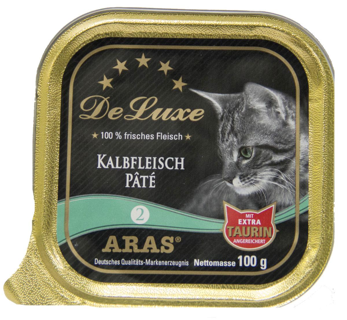 Консервы для кошек Aras Premium DeLuxe, паштет с телятиной, 100 г503102Консервы для кошек Aras Premium DeLuxe - корм для самых привередливых кошек, сочетающий в себе высокое качество ингредиентов, жизненно важные питательные вещества, а также превосходный вкус. Корм произведен в Германии по специальной технологии, схожей с технологией Sous Vide, из продуктов, пригодных в пищу человека. При изготовлении сохраняются все натуральные витамины и минералы. Это достигается благодаря бережной обработке всех ингредиентов при температуре менее 80°С. Такая бережная обработка продуктов не стерилизует продуктовые компоненты. Благодаря этому корма не нуждаются ни в каких дополнительных вкусовых добавках и сохраняют все необходимые полезные вещества. Особенности корма: - изготовлен из 100% свежего мяса; - без химических красителей, усилителей вкуса, искусственных консервантов и химических добавок; - из 100% свежих ингредиентов: мясо, овощи и зерновые; - сохранение натуральных витаминов в процессе ...