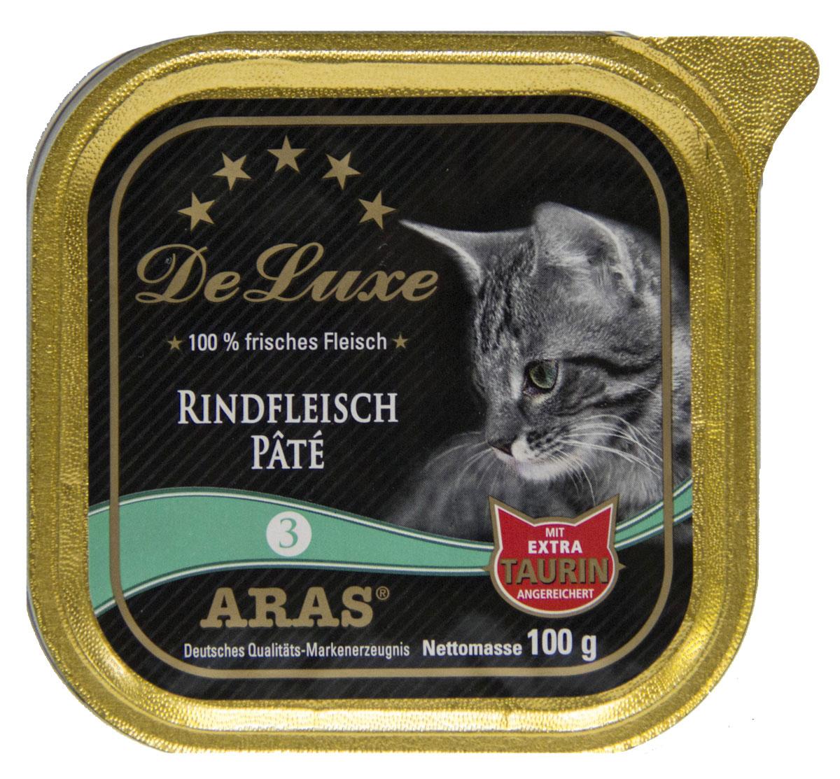 Консервы Aras Premium Delux, для кошек, паштет с говядиной, 100 г503103Изысканные, натуральные, беззерновые, мясные паштеты для кошек. Корм произведен в Германии из продуктов, пригодных в пищу человека по специальной технологии схожей с технологией Sous Vide. Благодаря уникальной технологии, схожей с технологий Souse Vide, при изготовлении сохраняются все натуральные витамины и минералы. Это достигается благодаря бережной обработке всех ингредиентов при температуре менее 80 градусов. Такая бережная обработка продуктов не стерилизует продуктовые компоненты. Благодаря этому корма не нуждаются ни в каких дополнительных вкусовых добавках и сохраняют все необходимые полезные вещества. При производстве кормов используются исключительно свежие натуральные продукты: мясо, овощи и зерновые; Приготовлено из 100% свежего мяса, пригодного в пищу человеку; Содержит натуральные витамины, аминокислоты, минеральные вещества и микроэлементы; С экстрактом масла зародышей зерна пшеницы холодного отжима (Bio-Dura); Без химических красителей,...