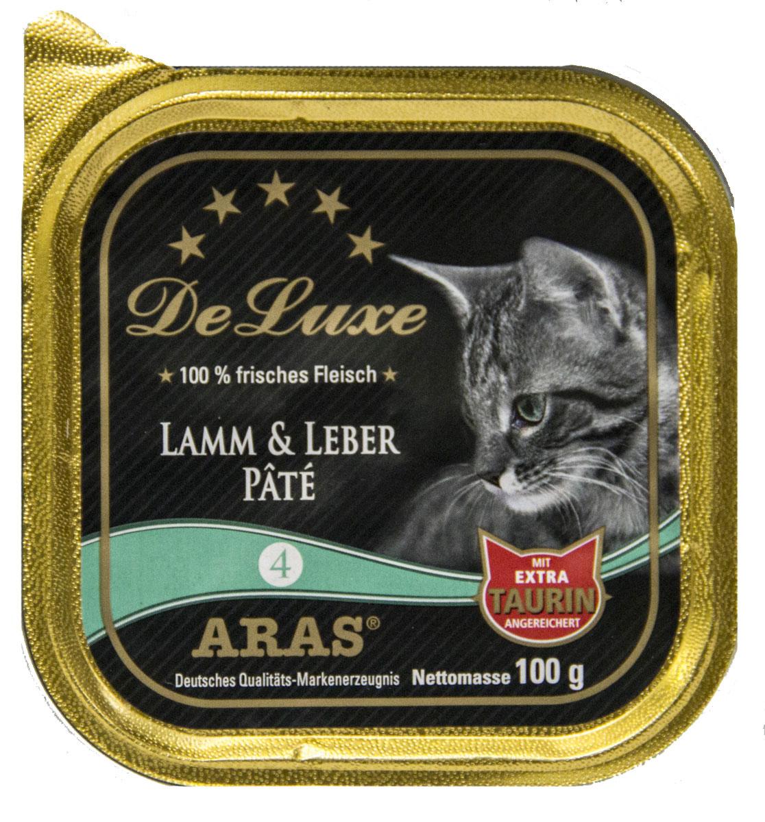 Консервы Aras Premium Delux, для кошек, паштет с бараниной и печенью, 100 г503104Изысканные, натуральные, беззерновые, мясные паштеты для кошек. Корм произведен в Германии из продуктов, пригодных в пищу человека по специальной технологии схожей с технологией Sous Vide. Благодаря уникальной технологии, схожей с технологий Souse Vide, при изготовлении сохраняются все натуральные витамины и минералы. Это достигается благодаря бережной обработке всех ингредиентов при температуре менее 80 градусов. Такая бережная обработка продуктов не стерилизует продуктовые компоненты. Благодаря этому корма не нуждаются ни в каких дополнительных вкусовых добавках и сохраняют все необходимые полезные вещества. При производстве кормов используются исключительно свежие натуральные продукты: мясо, овощи и зерновые; Приготовлено из 100% свежего мяса, пригодного в пищу человеку; Содержит натуральные витамины, аминокислоты, минеральные вещества и микроэлементы; С экстрактом масла зародышей зерна пшеницы холодного отжима (Bio-Dura); Без химических красителей,...