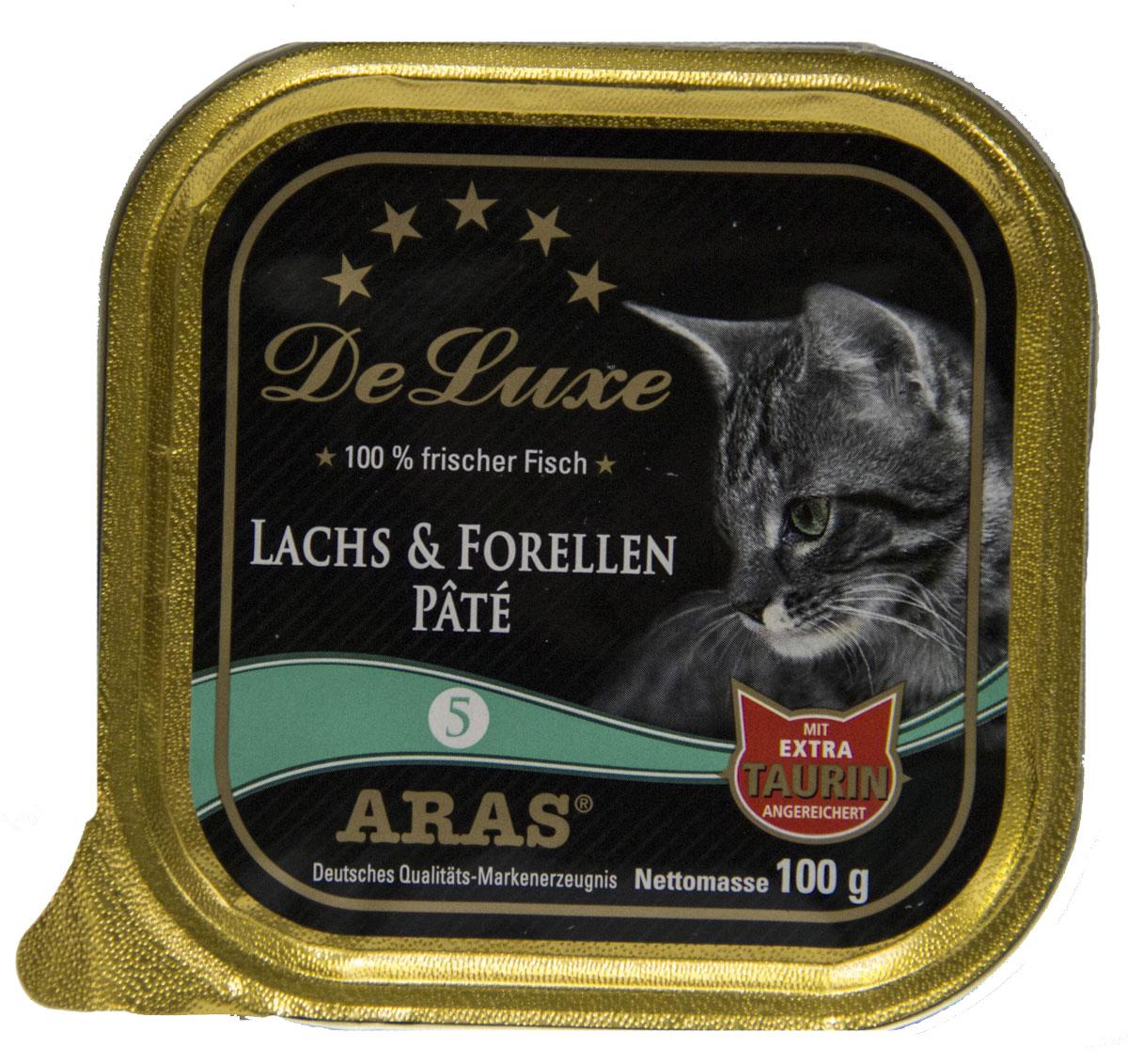 Консервы для кошек Aras Premium DeLuxe, паштет с семгой и форелью, 100 г503105Консервы для кошек Aras Premium DeLuxe - корм для самых привередливых кошек, сочетающий в себе высокое качество ингредиентов, жизненно важные питательные вещества, а также превосходный вкус. Корм произведен в Германии по специальной технологии, схожей с технологией Sous Vide, из продуктов, пригодных в пищу человека. При изготовлении сохраняются все натуральные витамины и минералы. Это достигается благодаря бережной обработке всех ингредиентов при температуре менее 80°С. Такая бережная обработка продуктов не стерилизует продуктовые компоненты. Благодаря этому корма не нуждаются ни в каких дополнительных вкусовых добавках и сохраняют все необходимые полезные вещества. Особенности корма Aras Premium DeLuxe: - изготовлен из 100% свежего мяса; - без химических красителей, усилителей вкуса, искусственных консервантов и химических добавок; - из 100% свежих ингредиентов: мясо, овощи и зерновые; - сохранение натуральных...