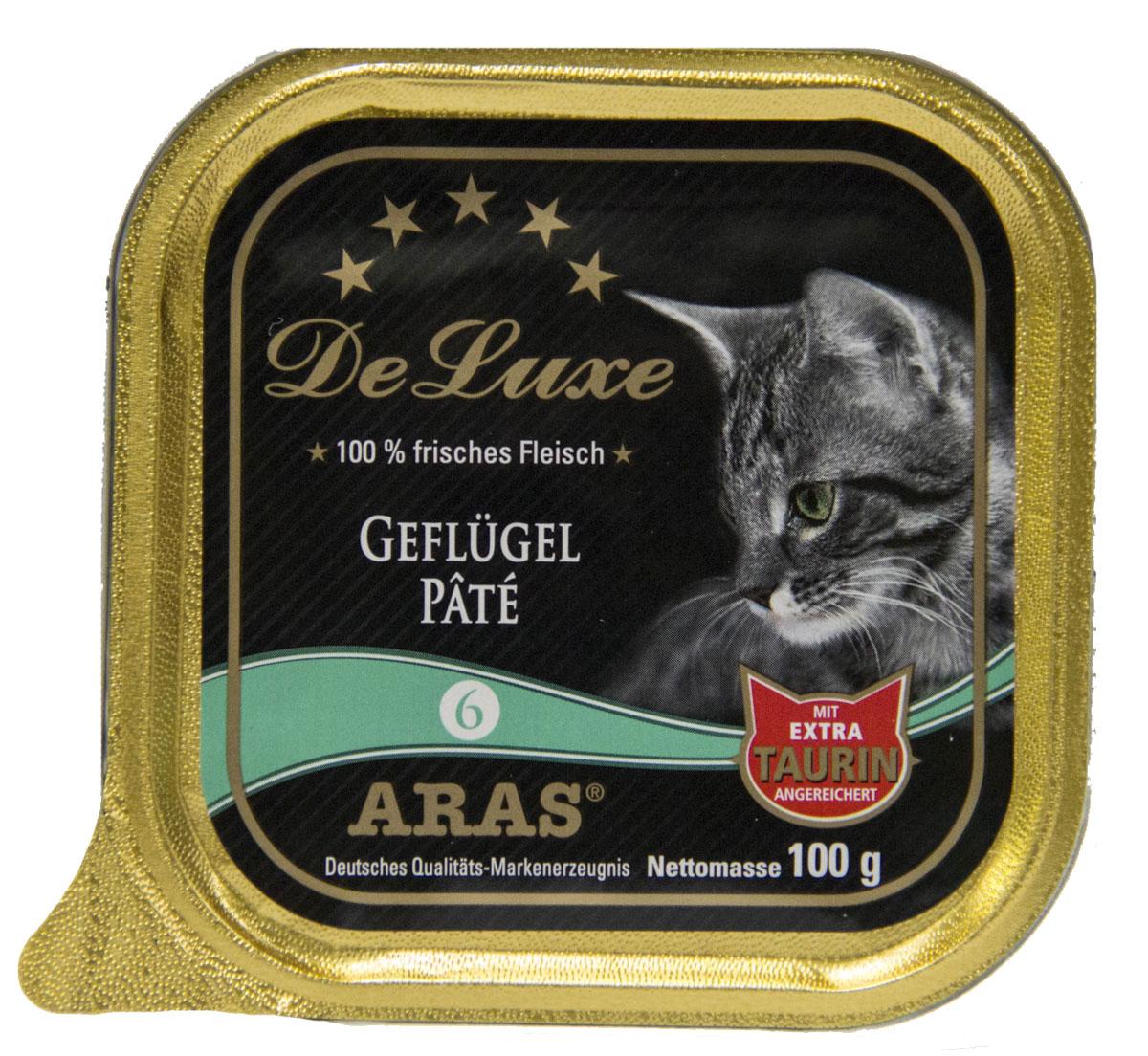 Консервы Aras Premium Delux, для кошек, паштет с домашней птицей, 100 г503106Изысканные, натуральные, беззерновые, мясные паштеты для кошек. Корм произведен в Германии из продуктов, пригодных в пищу человека по специальной технологии схожей с технологией Sous Vide. Благодаря уникальной технологии, схожей с технологий Souse Vide, при изготовлении сохраняются все натуральные витамины и минералы. Это достигается благодаря бережной обработке всех ингредиентов при температуре менее 80 градусов. Такая бережная обработка продуктов не стерилизует продуктовые компоненты. Благодаря этому корма не нуждаются ни в каких дополнительных вкусовых добавках и сохраняют все необходимые полезные вещества. При производстве кормов используются исключительно свежие натуральные продукты: мясо, овощи и зерновые; Приготовлено из 100% свежего мяса, пригодного в пищу человеку; Содержит натуральные витамины, аминокислоты, минеральные вещества и микроэлементы; С экстрактом масла зародышей зерна пшеницы холодного отжима (Bio-Dura); Без химических красителей,...