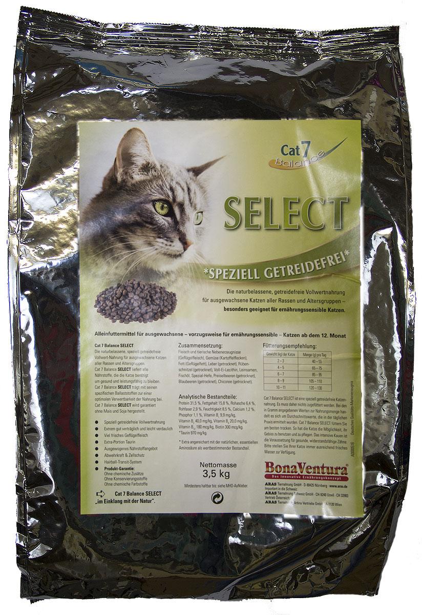 Корм сухой BonaVentura Cat 7 Select, для взрослых кошек, беззерновой, 3,5 кг605503Натуральный беззерновой полнорационный корм для взрослых кошек всех пород и возрастов. Идеально подходит для кошек с проблемами пищеварения. Корм произведен в Германии из продуктов, пригодных в пищу человека по специальной технологии схожей с технологией Sous Vide. Благодаря уникальной технологии, схожей с технологий Souse Vide, при изготовлении сохраняются все натуральные витамины и минералы. Это достигается благодаря бережной обработке всех ингредиентов при температуре менее 80 градусов. Такая бережная обработка продуктов не стерилизует продуктовые компоненты. Благодаря этому корма не нуждаются ни в каких дополнительных вкусовых добавках и сохраняют все необходимые полезные вещества. При производстве кормов используются исключительно свежие натуральные продукты: мясо, овощи и зерновые; Приготовлено из 100% свежего мяса, пригодного в пищу человеку; Содержит натуральные витамины, аминокислоты, минеральные вещества и микроэлементы; С экстрактом масла зародышей...