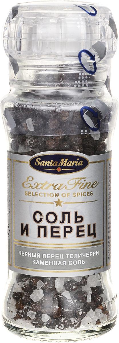 Santa Maria Соль и перец, 110 г26784Лучший сорт черного перца (специальный Телличерри) - имеет крупные зерна, обладающие пряным фруктовым вкусом. Смешанный с каменной солью он приобретает приятный, слегка солоноватый вкус. Прекрасная смесь для большинства блюд. Уважаемые клиенты! Обращаем ваше внимание на то, что упаковка может иметь несколько видов дизайна. Поставка осуществляется в зависимости от наличия на складе.