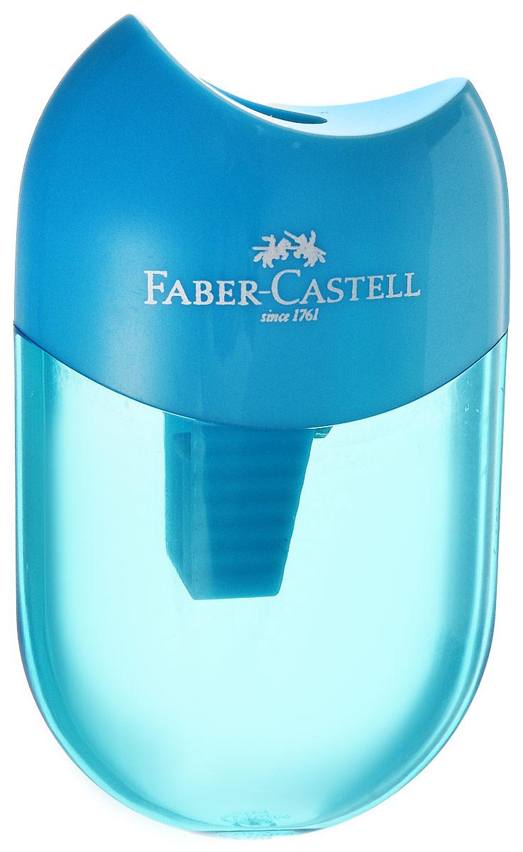 Faber-Castell Точилка-мини с контейнером цвет голубой183512Мини-точилка Faber-Castell выполнена из прочного пластика. В точилке имеется одно отверстие для классических, трехгранных, простых и цветных карандашей. Эргономичная форма контейнера обеспечивает стабильное положение кисти. Карандаш затачивается легко и аккуратно, а опилки после заточки остаются в специальном контейнере повышенной вместимости.
