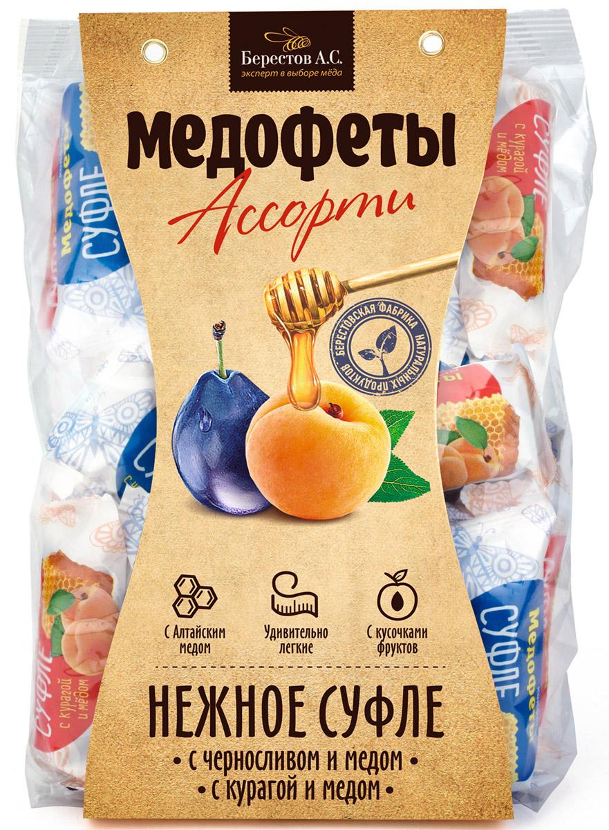 Берестов Медофеты суфле Ассорти с курагой и черносливом, 350 го0000007444Медофеты Берестов суфле - восхитительно вкусные, полезные, легкие, 100% натуральные сладости. Сладкое должно быть полезным - девиз, под которым создавались Медофеты суфле. Сладости часто вредны и калорийны, а полезные сладости зачастую не вкусны. Мы надеемся нам удалось создать бескомпромиссный продукт. Он низкокалориен В его составе только натуральные ингредиенты Ключевым элементом полезности медофет является мед, который вносится в продукт на этапе, когда его температура уже не поднимается выше 40 градусов, что позволяет сохранить все целебные свойства меда Медофеты очень вкусны. Мы даже позаботились о их форме, которая, как оказалось, влияет на восприятие вкуса - в отличие от большинства суфле, Медофеты имеют в разрезе форму полусферы, которой удалось добиться, используя особую технологию формования взбитой массы. Пробуйте, наслаждайтесь и будьте здоровы! Команда Берестов АС.