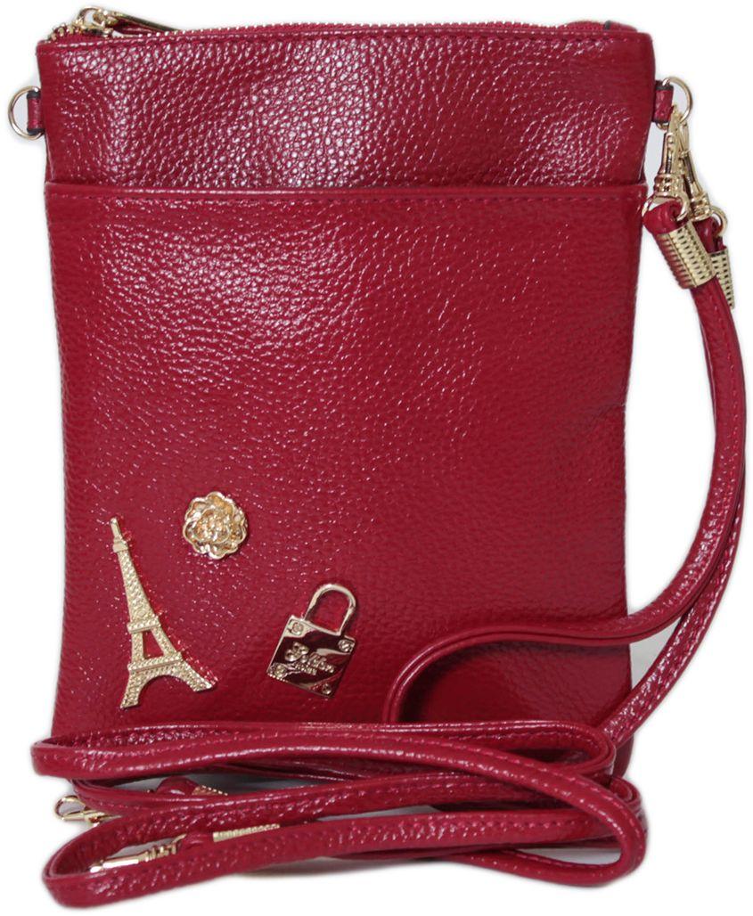 Кошелек женский Flioraj, цвет: красный. 00053200-1700053200-17Закрывается на молнию. Внутри одно отделение, один карман на молнии и два открытых, снаружи карман на молнии и один открытый. В комплекте короткий ремешок и длинный.