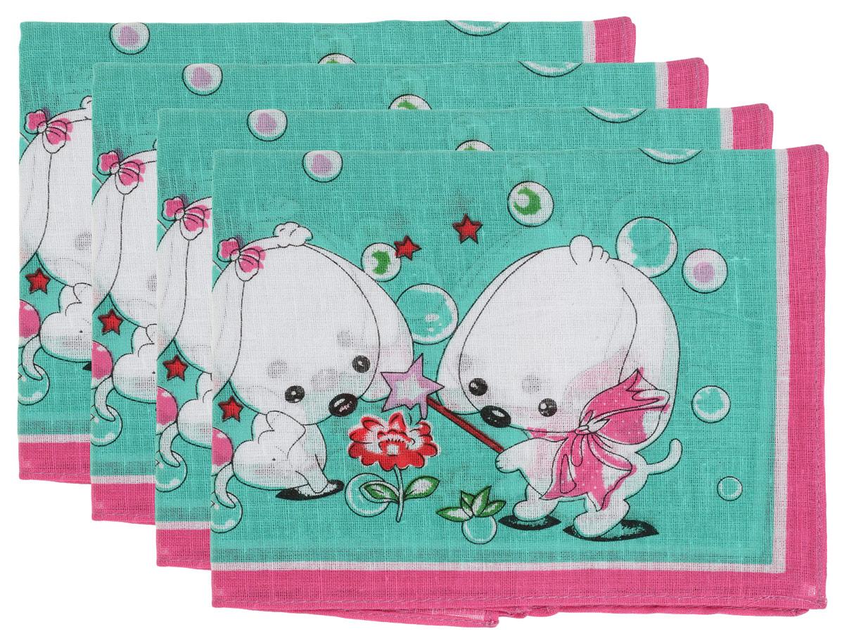 Платок носовой детский Zlata Korunka, цвет: зеленый, темно-розовый, 4 шт. 71406. Размер 27 х 27 см71406_зеленый, темно-розовыйДетский носовой платок Zlata Korunka изготовлен из высококачественного хлопка, приятен в использовании, хорошо стирается, не садится и отлично впитывает влагу. В упаковке 4 шт.