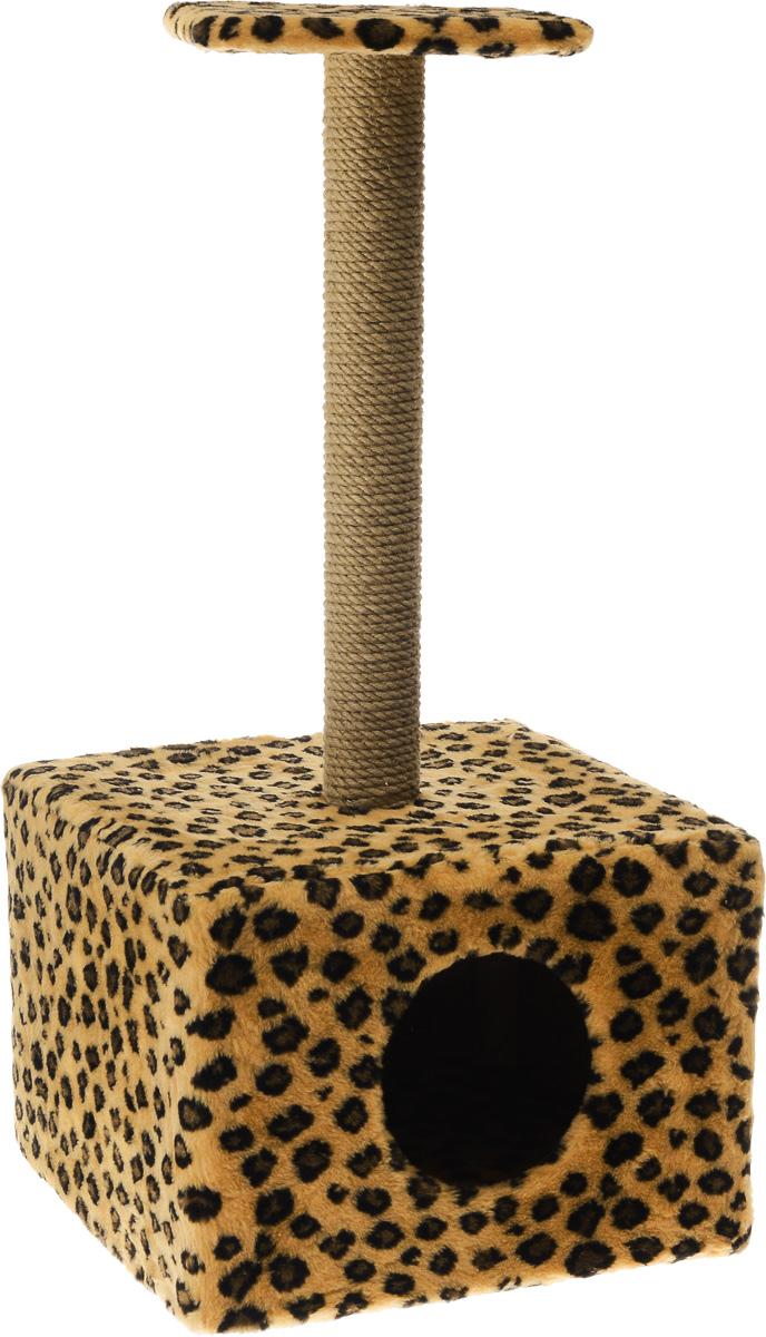 Игровой комплекс для кошек Меридиан, с полкой и домиком, цвет: коричневый, черный, бежевый, 39 х 39 х 80 смД114 ЛеИгровой комплекс для кошек Меридиан выполнен из высококачественного ДВП и ДСП и обтянут искусственным мехом. Изделие предназначено для кошек. Ваш домашний питомец будет с удовольствием точить когти о специальный столбик, изготовленный из джута. А отдохнуть он сможет либо на полке, находящейся наверху столбика, либо в расположенном внизу домике. Общий размер: 39 х 39 х 80 см. Размер полки: 24 х 24 см. Размер домика: 39 х 39 х 30 см.