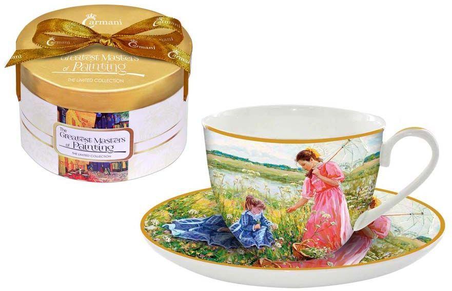 Чайная пара Carmani На лугу, 2 предметаCAR2-045-0300-ALЧайная пара Carmani На лугу состоит из чашки и блюдца, изготовленных из высококачественного костяного фарфора. Яркий дизайн изделий, несомненно, придется вам по вкусу. Чайная пара Carmani На лугу украсит ваш кухонный стол, а также станет замечательным подарком к любому празднику. Объем чашки: 250 мл.