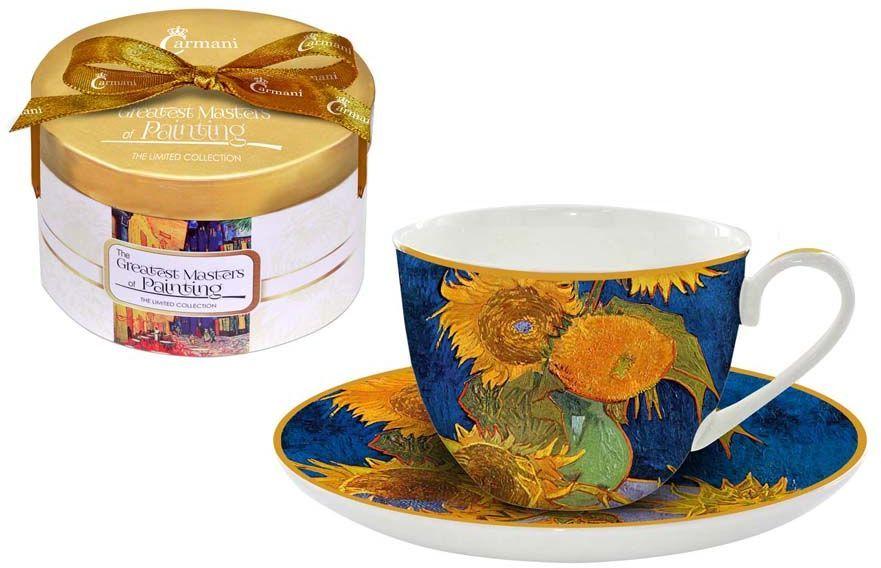 Чайная пара Carmani Подсолнухи, 2 предметаCAR2-045-0305-ALЧайная пара Carmani Подсолнухи состоит из чашки и блюдца, изготовленных из высококачественного костяного фарфора. Яркий дизайн изделий, несомненно, придется вам по вкусу. Чайная пара Carmani Подсолнухи украсит ваш кухонный стол, а также станет замечательным подарком к любому празднику. Объем чашки: 250 мл.