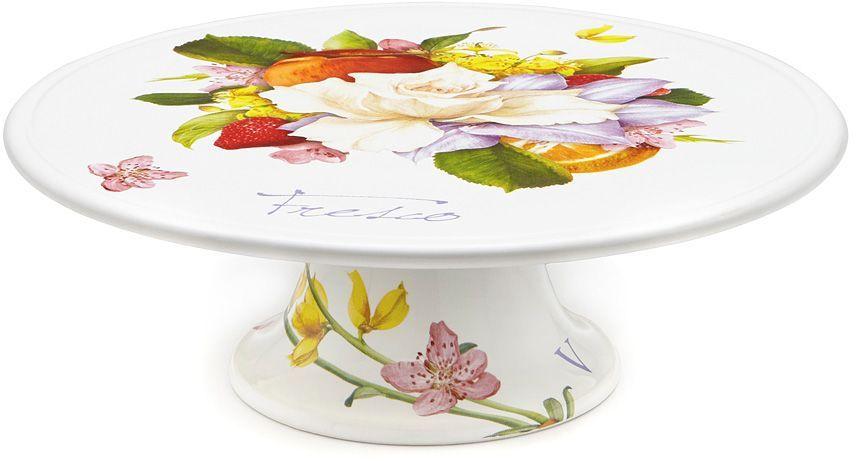 Блюдо Ceramiche Viva Фреско, для торта, 31см. CV2-T02-18048-ALCV2-T02-18048-ALБлюдо для торта 31смФреско Керамическая посуда итальянской фабрики Ceramiche Viva известна не только своим превосходным качеством, но и удивительными, неповторимыми дизайнами, отличающими ее от любой другой керамической посуды. Невозможно относиться к изделиям Ceramiche Viva как к обычной посуде. Приобретя любую вещь из ассортимента Ceramiche Viva, вы украсите свой дом, доставите радость родным и близким, и ваш обычный ужин превратится в праздничный. Помимо внешней привлекательности посуда Ceramiche Viva обладает и прекрасными практическими свойствами: посуду Ceramiche Viva можно мыть в посудомоечной машине и использовать в микроволновой печи. Не разрешается применять при мытье посуды абразивные порошки. Поверхность изделий покрыта высококачественной глазурью, не содержащей свинца.