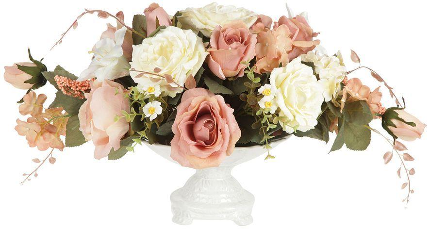 Декоративные цветы Dream Garden Розы и лилии, в вазе, 28х28х32см. DG-15145-ALDG-15145-ALДекор.цветы Розы и лилиив керам.вазе 28х28х32см Торговая марка Dream Garden, Китай. Композиции из искусственных цветов долговечны, не требуют ежедневного ухода, выполнены из натуральных шелка и текстиля, прошедших специальную обработку высококачественными современными материалами. Искусственные цветы максимально приближены к натуральным, не пахнут, что исключает все аллергические реакции.