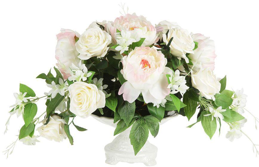 Декоративные цветы Dream Garden Розы и пионы, в вазе, 39х29х33см. DG-15146-ALDG-15146-ALДекор.цветы Розы и пионы в керам.вазе 39х29х33см Торговая марка Dream Garden, Китай. Композиции из искусственных цветов долговечны, не требуют ежедневного ухода, выполнены из натуральных шелка и текстиля, прошедших специальную обработку высококачественными современными материалами. Искусственные цветы максимально приближены к натуральным, не пахнут, что исключает все аллергические реакции.