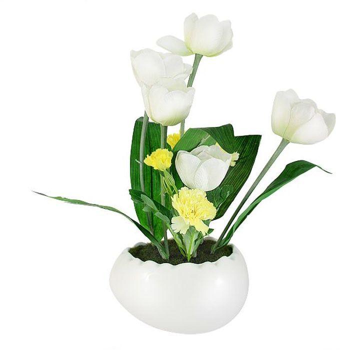 Декоративные цветы в вазе Dream Garden Тюльпаны белые, 21х23х36 смDG-R16026-ALТорговая марка Dream Garden, Китай. Композиции из искусственных цветов долговечны, не требуют ежедневного ухода, выполнены из натуральных шелка и текстиля, прошедших специальную обработку высококачественными современными материалами. Искусственные цветы максимально приближены к натуральным, не пахнут, что исключает все аллергические реакции.