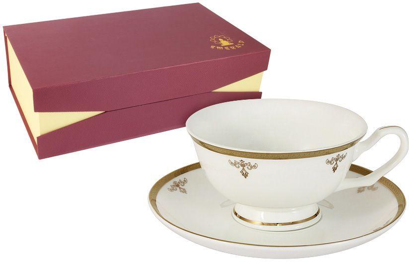 Набор чайный Emerald Ампир, 12 предметов. E5-09-24/12-ALE5-09-24/12-ALНабор 12 предметов Ампир : 6 чашек 0.2л + 6 блюдец Чайная и обеденная столовая посуда торговой марки Emerald произведена из высококачественного костяного фарфора. Благодаря высокому качеству исполнения, разнообразным декорам и оптимальному соотношению цена – качество, посуда Emerald завоевала огромную популярность у покупателей и пользуется неизменно высоким спросом. Изделия Emerald представлены как в виде обеденных и чайных сервизов на 6 и 12 персон. Поверхность изделий покрыта превосходной сверкающей глазурью, не содержащей свинца.