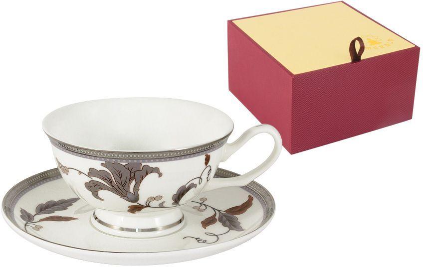 Чайная пара Emerald Серебряный лист, 2 предметаE5-12-76P/CS-ALЧайная пара Emerald Серебряный лист состоит из чашки и блюдца, изготовленных из высококачественного костяного фарфора. Яркий дизайн изделий, несомненно, придется вам по вкусу. Чайная пара Emerald Серебряный лист украсит ваш кухонный стол, а также станет замечательным подарком к любому празднику. Объем чашки: 200 мл.