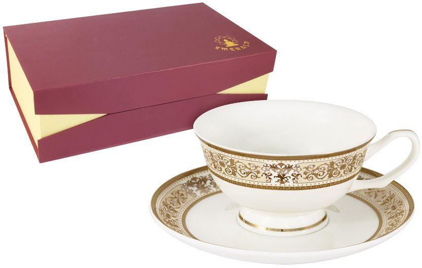 Набор чайный Emerald Шарлотта, 12 предметов. E5-14-604/12-ALE5-14-604/12-ALНабор 12 предметов Шарлотта : 6 чашек 0.2л + 6 блюдец Чайная и обеденная столовая посуда торговой марки Emerald произведена из высококачественного костяного фарфора. Благодаря высокому качеству исполнения, разнообразным декорам и оптимальному соотношению цена – качество, посуда Emerald завоевала огромную популярность у покупателей и пользуется неизменно высоким спросом. Изделия Emerald представлены как в виде обеденных и чайных сервизов на 6 и 12 персон. Поверхность изделий покрыта превосходной сверкающей глазурью, не содержащей свинца.