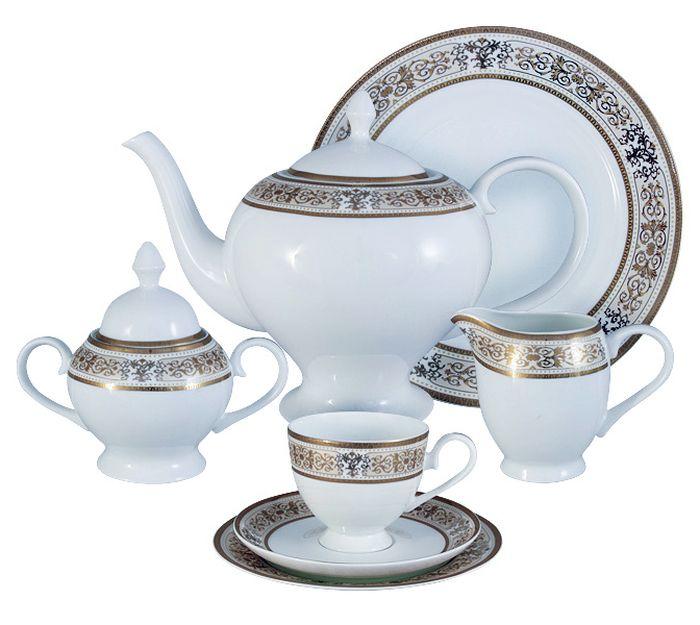 Чайный сервиз Emerald Шарлотта, 40 предметов, 12 персон. E5-14-604/40-ALE5-14-604/40-ALЧайный сервиз Шарлотта 40 предметов на 12 персон (12 десерт тарелок-18 см; 12 чашек 0,2л; 12 блюдец, сливочник 0,3л; чайник1,5л; сахарница 0,35л; блюдо для торта 31см) Чайная и обеденная столовая посуда торговой марки Emerald произведена из высококачественного костяного фарфора. Благодаря высокому качеству исполнения, разнообразным декорам и оптимальному соотношению цена – качество, посуда Emerald завоевала огромную популярность у покупателей и пользуется неизменно высоким спросом. Изделия Emerald представлены как в виде обеденных и чайных сервизов на 6 и 12 персон. Поверхность изделий покрыта превосходной сверкающей глазурью, не содержащей свинца.