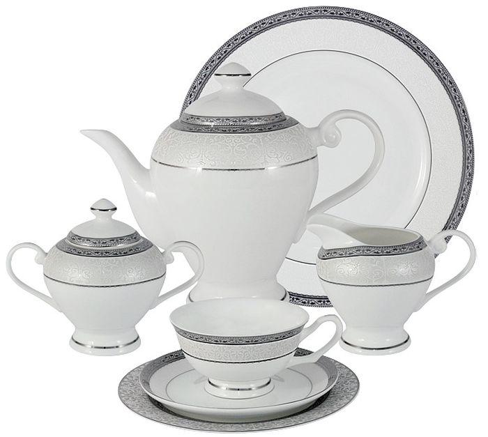 Чайный сервиз Emerald Бостон, 40 предметов, 12 персон. E5-16-908/40-ALE5-16-908/40-ALЧайный сервиз Бостон 40 предметов на 12 персон (12 чашек 0.2л, 12 блюдец, 12 тарелок 19см, чайник 1.2л, сахарница 0.35л, молочник 0.35л ; блюдо для торта 31см ) Чайная и обеденная столовая посуда торговой марки Emerald произведена из высококачественного костяного фарфора. Благодаря высокому качеству исполнения, разнообразным декорам и оптимальному соотношению цена – качество, посуда Emerald завоевала огромную популярность у покупателей и пользуется неизменно высоким спросом. Изделия Emerald представлены как в виде обеденных и чайных сервизов на 6 и 12 персон. Поверхность изделий покрыта превосходной сверкающей глазурью, не содержащей свинца.