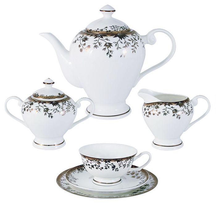Чайный сервиз Emerald Золотой луг, 21 предмет, 6 персон. E5-16-909/21M-ALE5-16-909/21M-ALЧайный сервиз Золотой луг 21 предмет на 6 персон (6 чашек 0.2л , 6 блюдец, 6 тарелок 19см , чайник 1.2л , сахарница 0.35л , молочник 0.35л ) Чайная и обеденная столовая посуда торговой марки Emerald произведена из высококачественного костяного фарфора. Благодаря высокому качеству исполнения, разнообразным декорам и оптимальному соотношению цена – качество, посуда Emerald завоевала огромную популярность у покупателей и пользуется неизменно высоким спросом. Изделия Emerald представлены как в виде обеденных и чайных сервизов на 6 и 12 персон. Поверхность изделий покрыта превосходной сверкающей глазурью, не содержащей свинца.