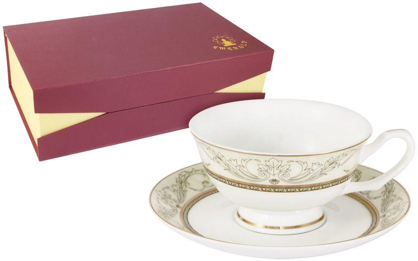 Набор чайный Emerald Романтика, 12 предметов. E5-HV005011/12-ALE5-HV005011/12-ALНабор 12 предметов Романтика : 6 чашек 0.2л + 6 блюдец Чайная и обеденная столовая посуда торговой марки Emerald произведена из высококачественного костяного фарфора. Благодаря высокому качеству исполнения, разнообразным декорам и оптимальному соотношению цена – качество, посуда Emerald завоевала огромную популярность у покупателей и пользуется неизменно высоким спросом. Изделия Emerald представлены как в виде обеденных и чайных сервизов на 6 и 12 персон. Поверхность изделий покрыта превосходной сверкающей глазурью, не содержащей свинца.