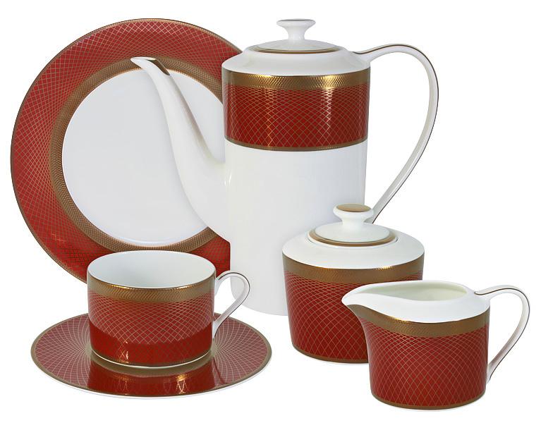 Чайный сервиз Naomi Кармен, 21 предмет, 6 персон. NG-G150305-21-ALNG-G150305-21-ALЧайный сервиз Кармен 21 предм.на 6 персон (6 чашек 0.25л, 6 блюдец, 6 тарелок 21.5см, чайник 1.4л, сахарница 0.35л, молочник 0.25л ) Чайная и обеденная посуда торговой марки Naomi из высококачественного костяного фарфора отличается прекрасными дизайнами, исполненными как в современном, так и в классическом стиле по разработкам современных японских художников. Все изделия изготавливаются на современном оборудовании по новейшим технологиям и проходят строгий контроль качества.