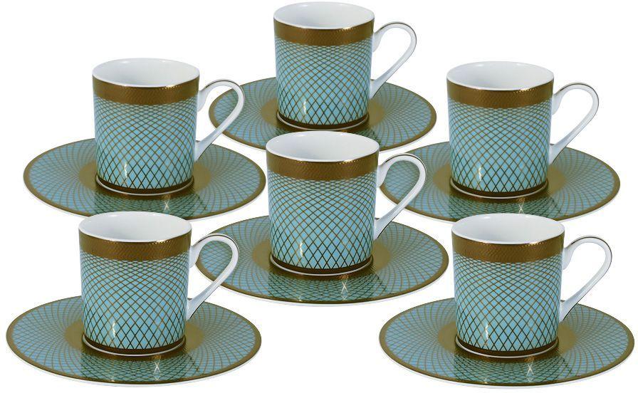 Кофейный набор Naomi Бирюза: 6 чашек 0,1л, 6 блюдец. NG-G150306-C6-ALNG-G150306-C6-ALКофейный набор Бирюза: 6 чашек 0.1л+6 блюдец Чайная и обеденная посуда торговой марки Naomi из высококачественного костяного фарфора отличается прекрасными дизайнами, исполненными как в современном, так и в классическом стиле по разработкам современных японских художников. Все изделия изготавливаются на современном оборудовании по новейшим технологиям и проходят строгий контроль качества.
