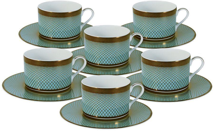 Набор чайный Naomi Бирюза, 12 предметов. NG-G150306-T6-ALNG-G150306-T6-ALЧайный набор Бирюза: 6 чашек 0.25л+6 блюдец Чайная и обеденная посуда торговой марки Naomi из высококачественного костяного фарфора отличается прекрасными дизайнами, исполненными как в современном, так и в классическом стиле по разработкам современных японских художников. Все изделия изготавливаются на современном оборудовании по новейшим технологиям и проходят строгий контроль качества.