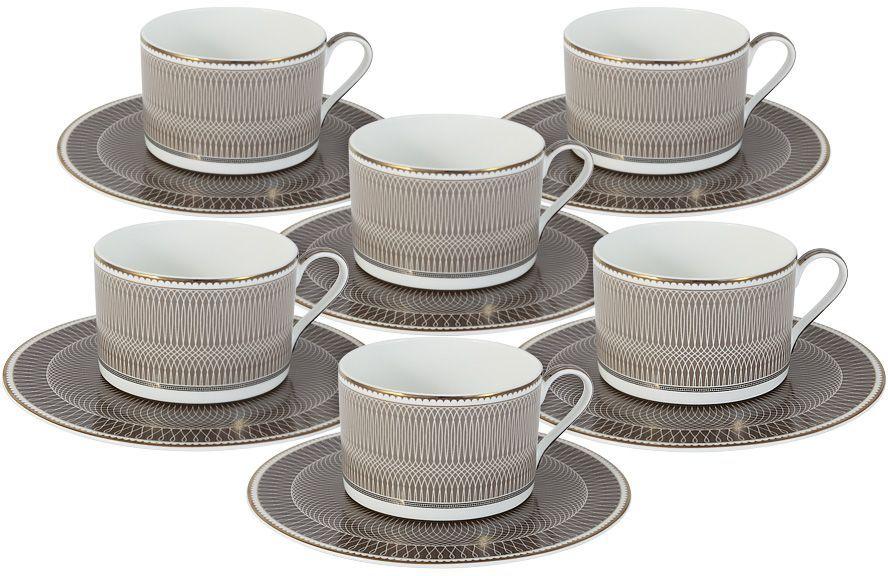 Набор чайный Naomi Мокко, 12 предметов. NG-I150905A-T6-ALNG-I150905A-T6-ALЧайный набор Мокко: 6 чашек 0.25л+6 блюдец Чайная и обеденная посуда торговой марки Naomi из высококачественного костяного фарфора отличается прекрасными дизайнами, исполненными как в современном, так и в классическом стиле по разработкам современных японских художников. Все изделия изготавливаются на современном оборудовании по новейшим технологиям и проходят строгий контроль качества.