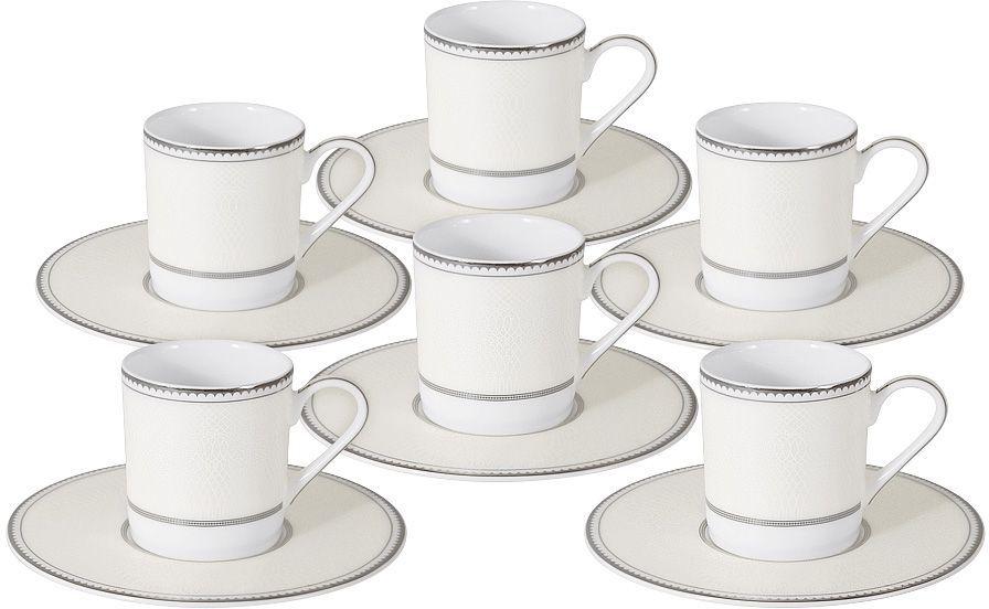 Кофейный набор Naomi Жемчуг: 6 чашек 0,1л, 6 блюдец. NG-I150905B-C6-ALNG-I150905B-C6-ALКофейный набор Жемчуг: 6 чашек 0.1л+6 блюдец Чайная и обеденная посуда торговой марки Naomi из высококачественного костяного фарфора отличается прекрасными дизайнами, исполненными как в современном, так и в классическом стиле по разработкам современных японских художников. Все изделия изготавливаются на современном оборудовании по новейшим технологиям и проходят строгий контроль качества.