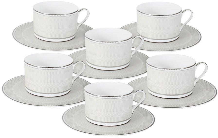 Набор чайный Naomi Жемчуг, 12 предметов. NG-I150905B-T6-ALNG-I150905B-T6-ALЧайный набор Жемчуг : 6 чашек 0.25л+6 блюдец Чайная и обеденная посуда торговой марки Naomi из высококачественного костяного фарфора отличается прекрасными дизайнами, исполненными как в современном, так и в классическом стиле по разработкам современных японских художников. Все изделия изготавливаются на современном оборудовании по новейшим технологиям и проходят строгий контроль качества.