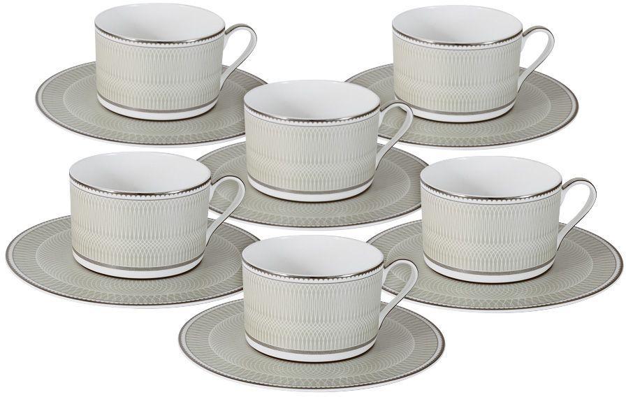 Набор чайный Naomi Маренго, 12 предметов. NG-I150905C-T6-ALNG-I150905C-T6-ALЧайный набор Маренго: 6 чашек 0.25л+6 блюдец Чайная и обеденная посуда торговой марки Naomi из высококачественного костяного фарфора отличается прекрасными дизайнами, исполненными как в современном, так и в классическом стиле по разработкам современных японских художников. Все изделия изготавливаются на современном оборудовании по новейшим технологиям и проходят строгий контроль качества.