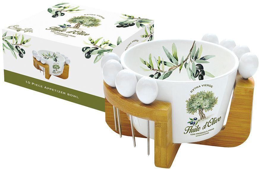 Набор для закуски Nuova R2S Прованс: салатник для оливок 15 см, 8 шпажек, подставка. R2S850/PROV-ALR2S850/PROV-ALНабор для закуски: салатник для оливок 15см+ 8 шпажек на подставке Прованс Концепция выпускаемой продукции заключается в создании единой дизайнерской линии предметов сервировки стола, оформления интерьера кухни или столовой комнаты. Вся продукция производится из современных и экологически чистых материалов: фарфора, стекла, пластика и дерева. Продукция компании NUOVA R2S отличается современным дизайном, и легкостью в эксплуатации. Компания работает в тесном сотрудничестве с лучшими итальянскими художниками и дизайнерами.